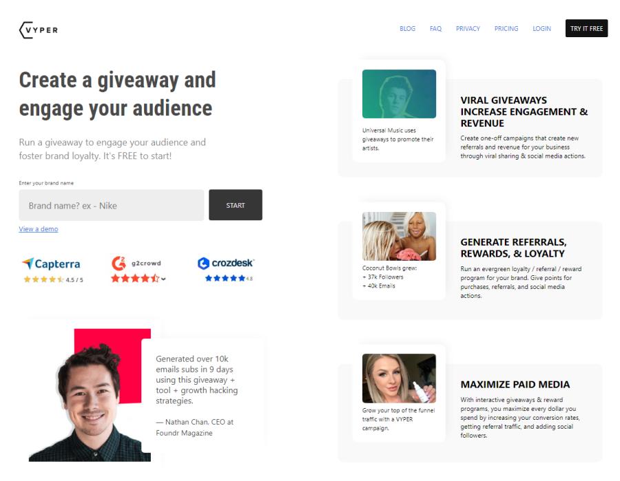 Vyper homepage screenshot