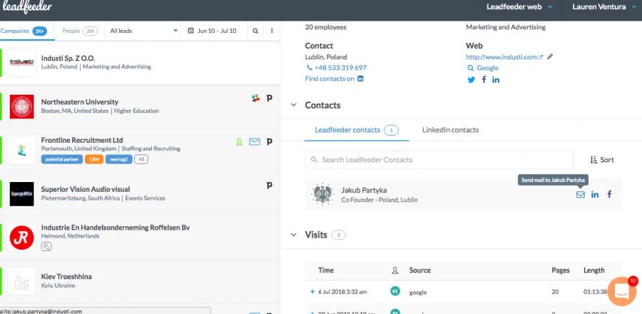 website analytics tools - Leadfeeder