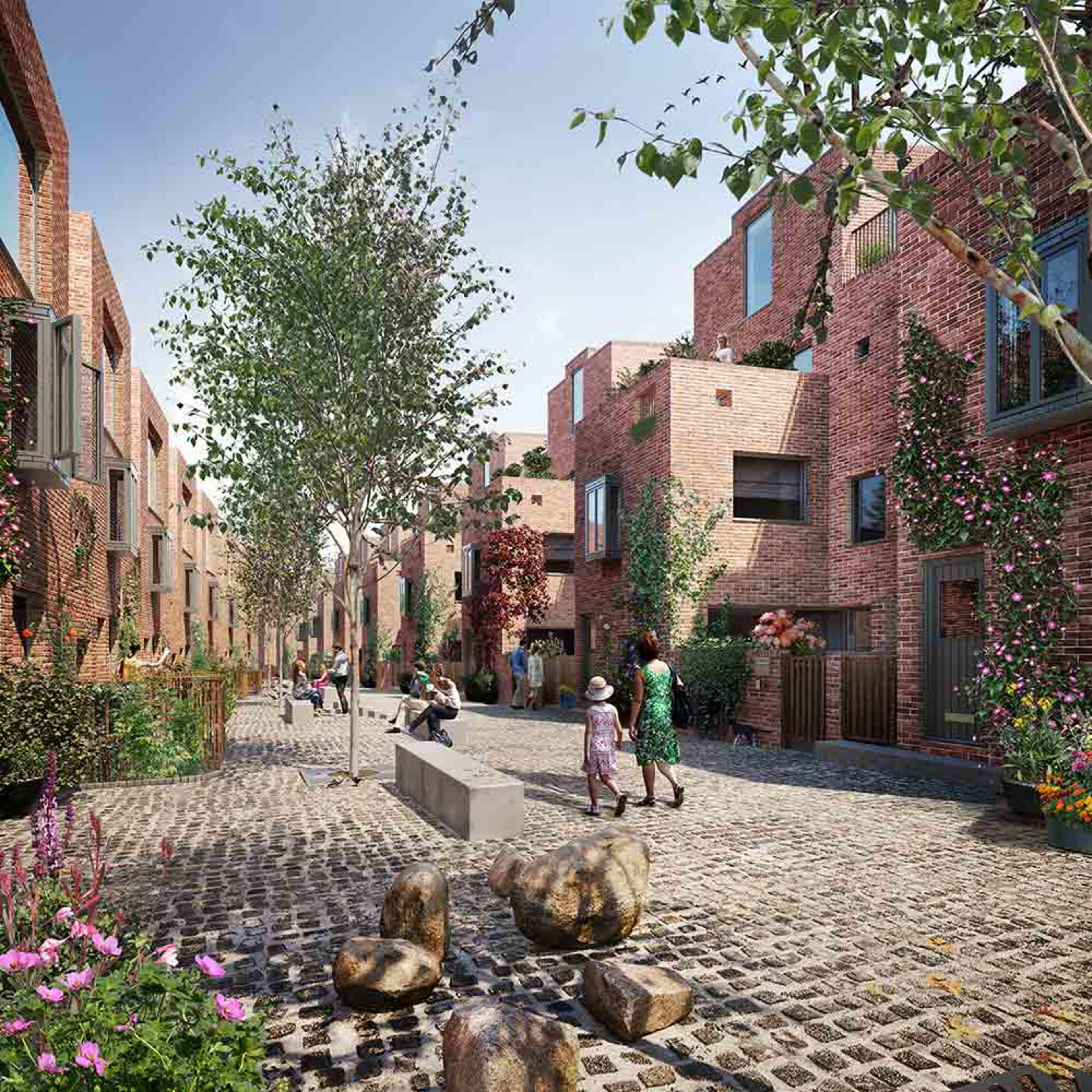 CGI of a tree-lined new build mews street with people walking