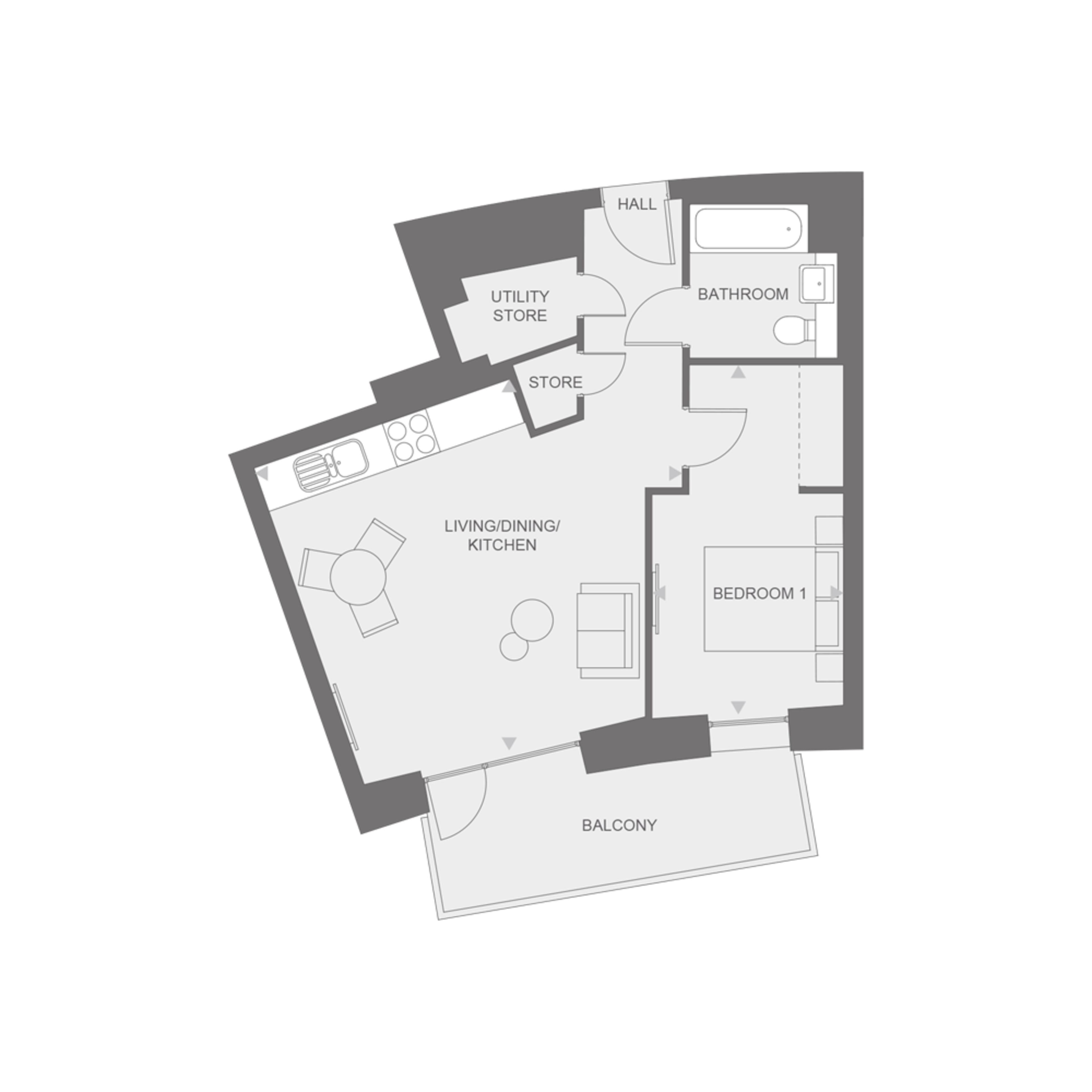 Anthology Wembley Parade -  one bedroom - type B floor plan