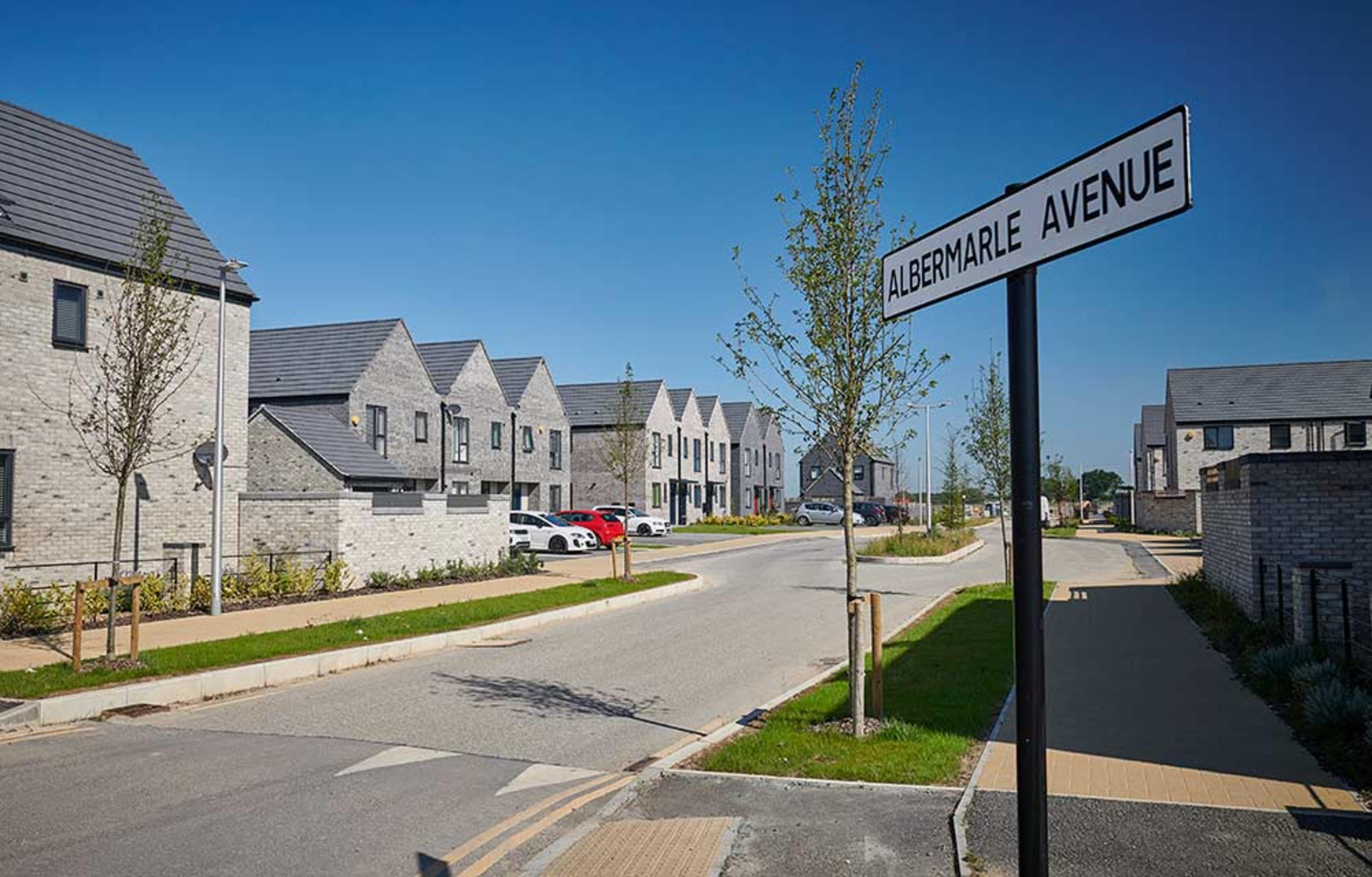 Street view of new-build houses on Albermarle Avenue at Meaux Rise