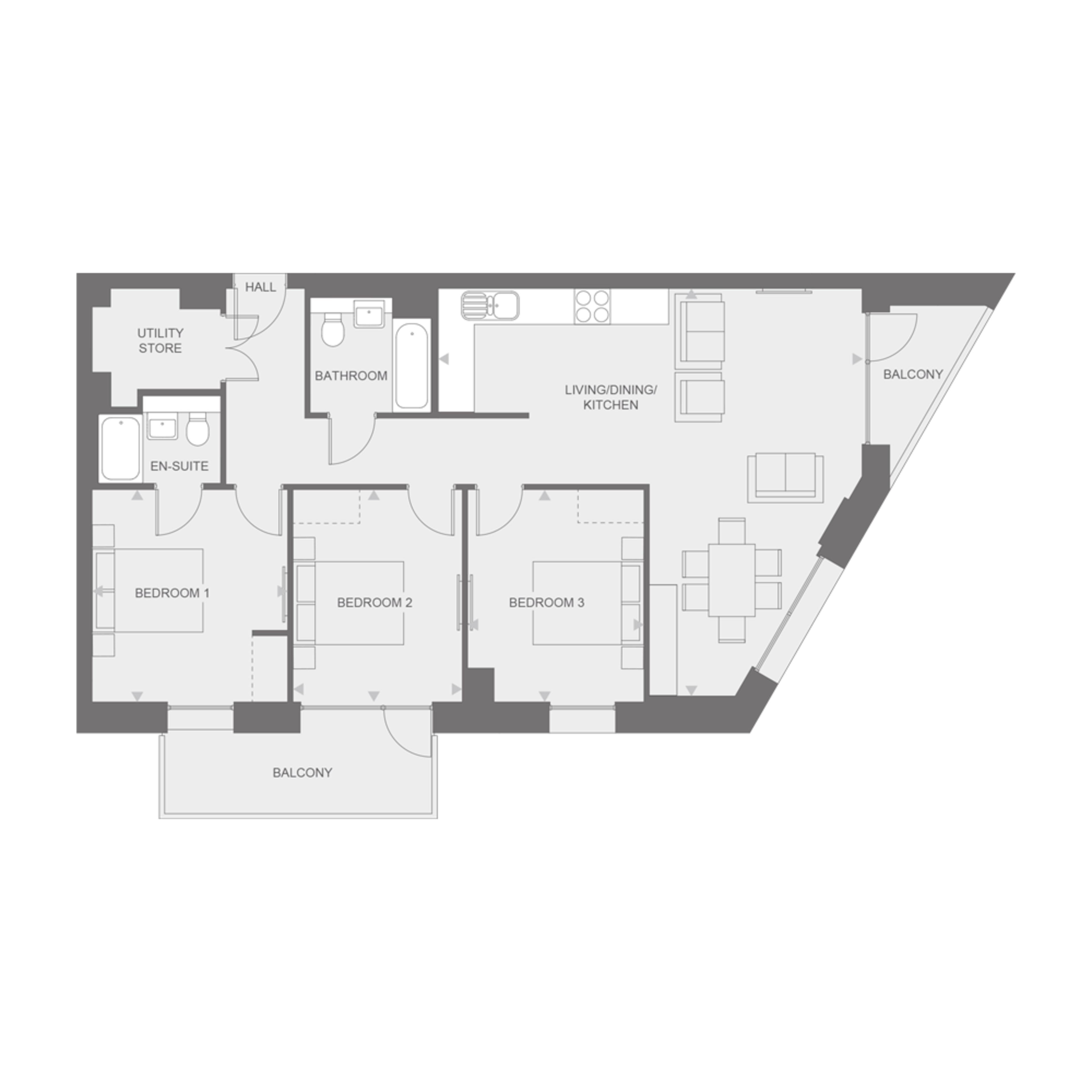 Anthology Wembley Parade - three bedroom - type B floor plan