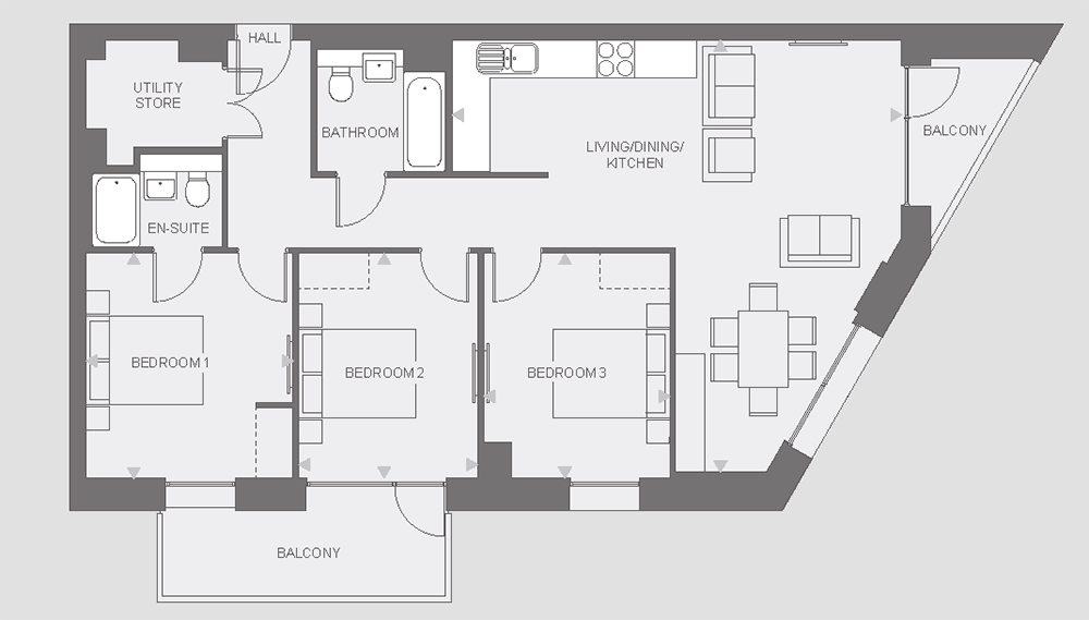 Anthology Wembley Parade - three bedroom - type B floor plan
