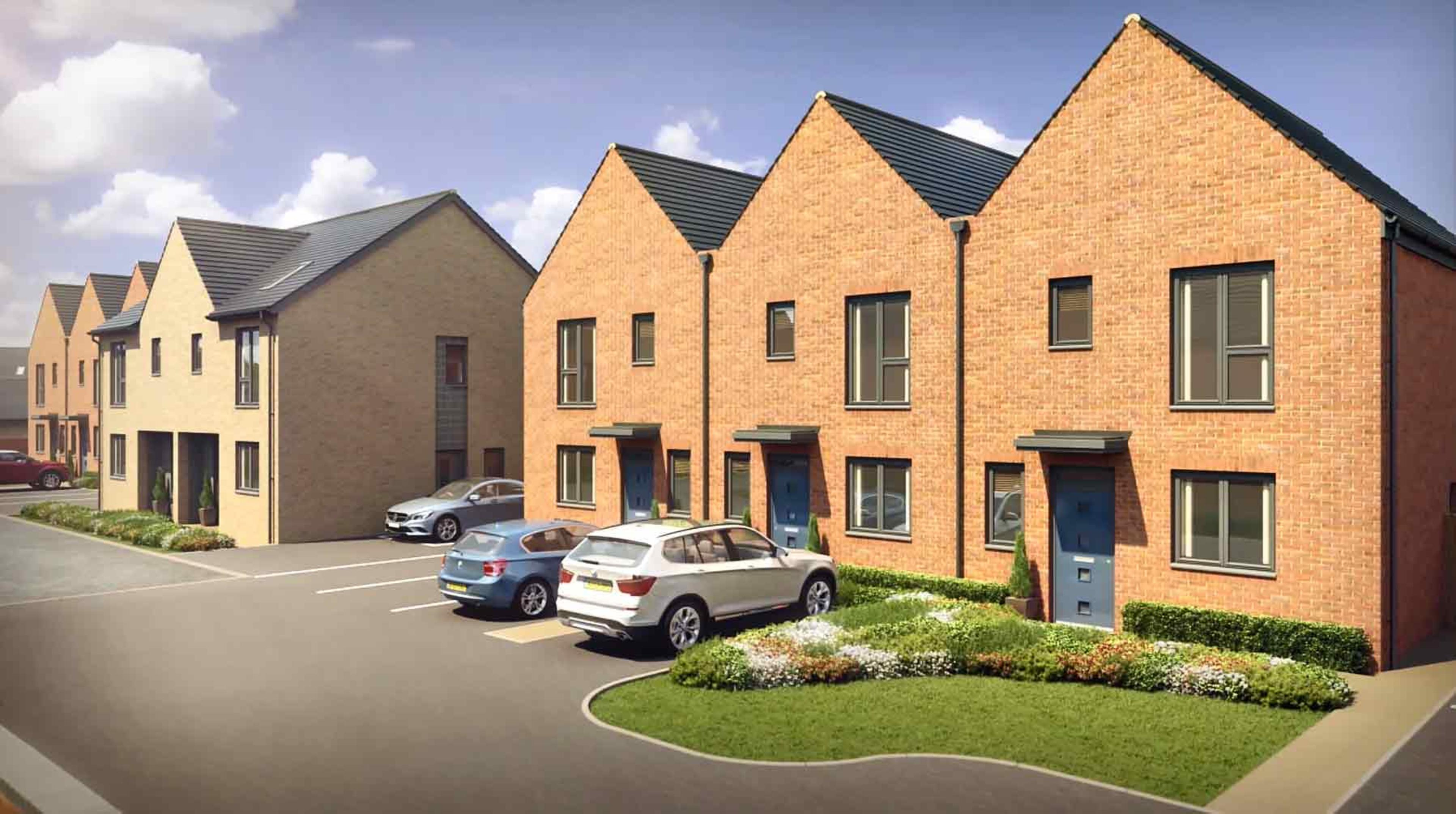 CGI of new build semi-detached homes and cars parked in off-street bays at Meaux Rise