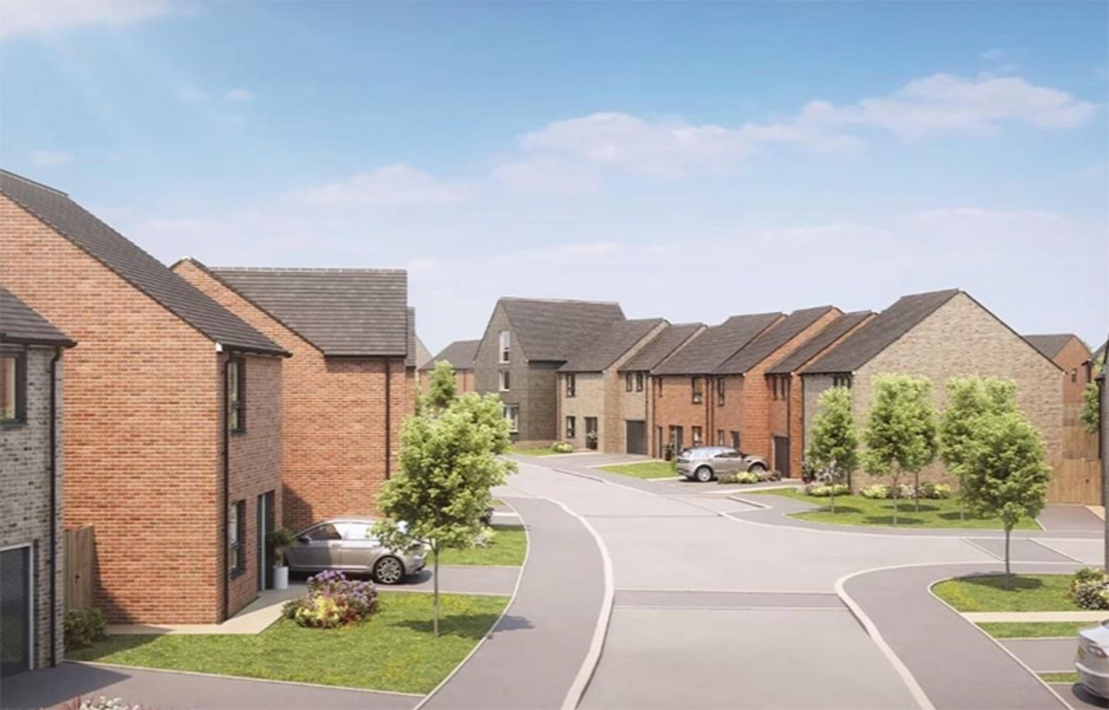CGI of new-build homes with gardens and cars in driveways at Ellison Grove, Hebburn