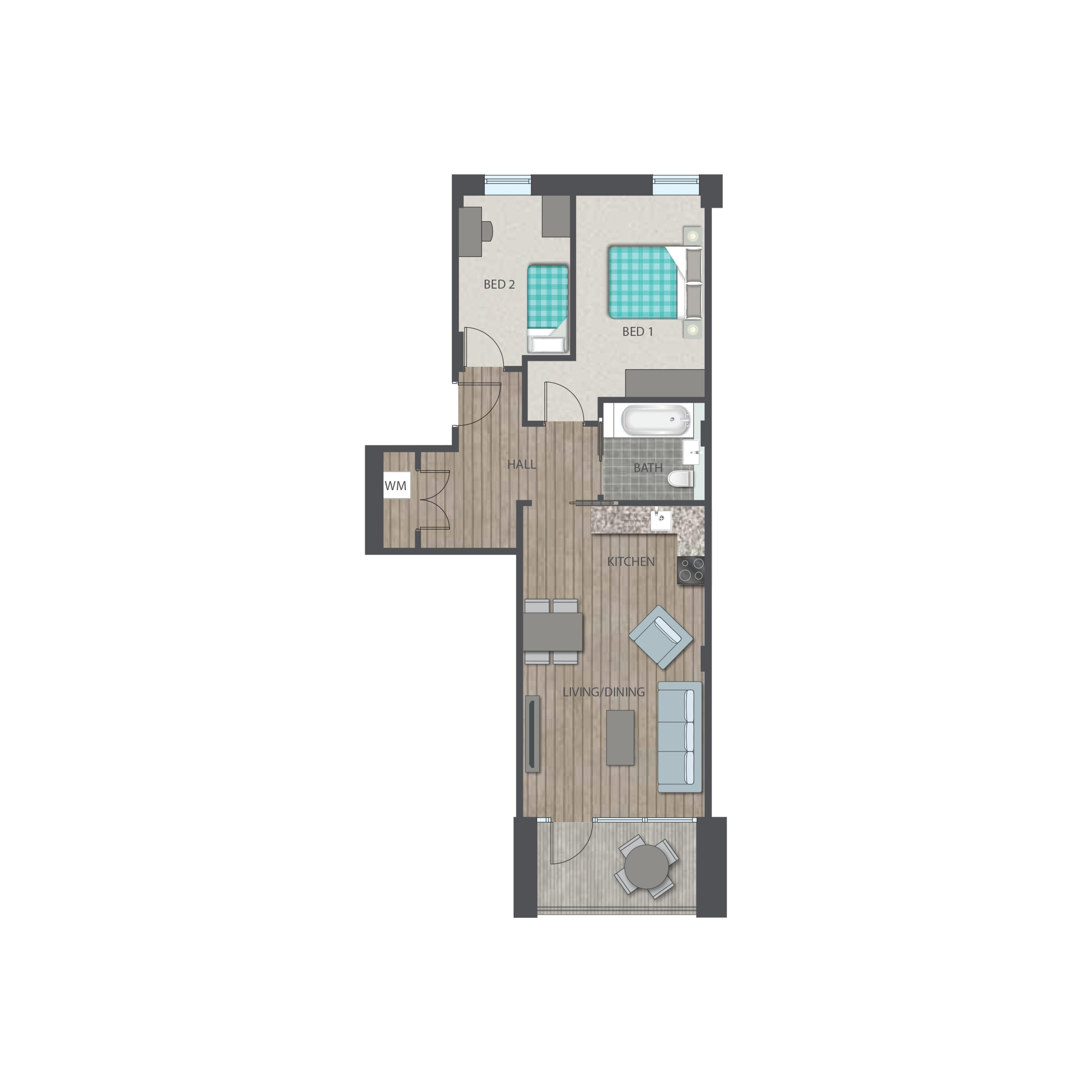 Union park - 2 bed Type E floor plan