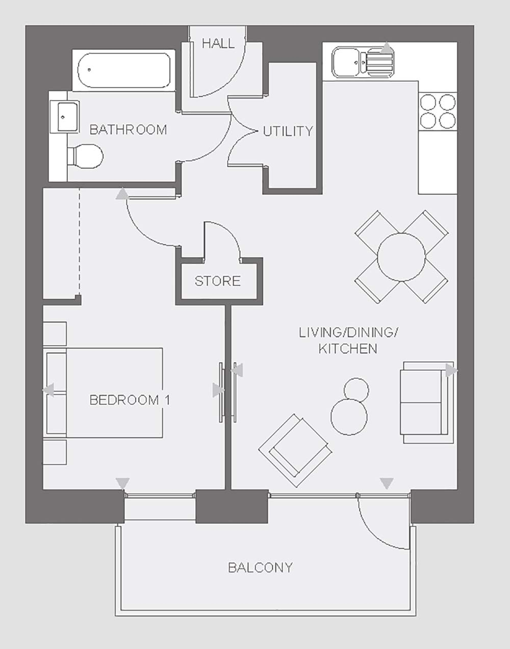 Anthology Wembley Parade - one bedroom - type G floor plan