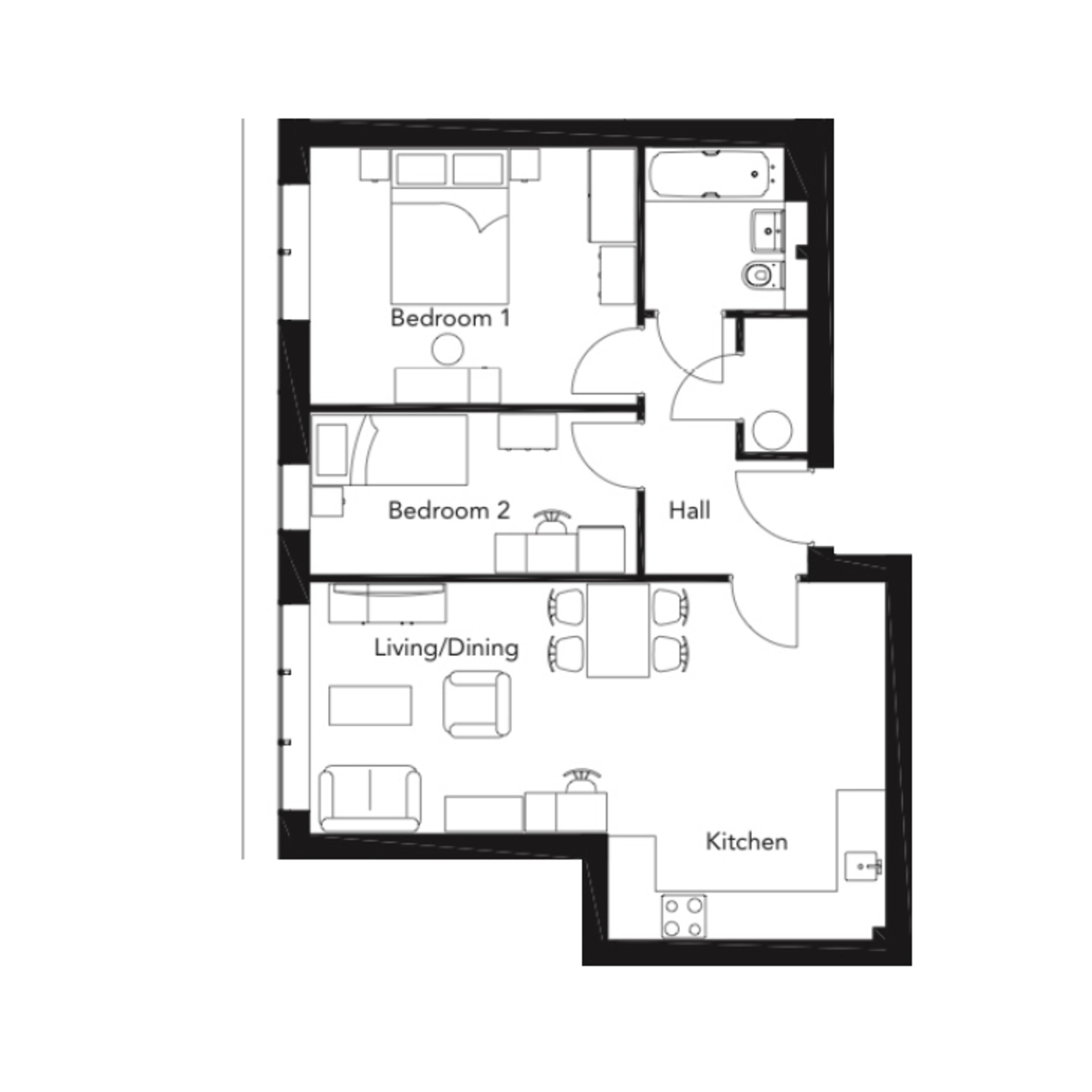 Franklin Court - 2 bedroom apartment - type M - floorplan