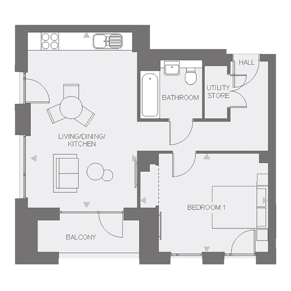 Anthology Wembley Parade - one bedroom - type D floor plan