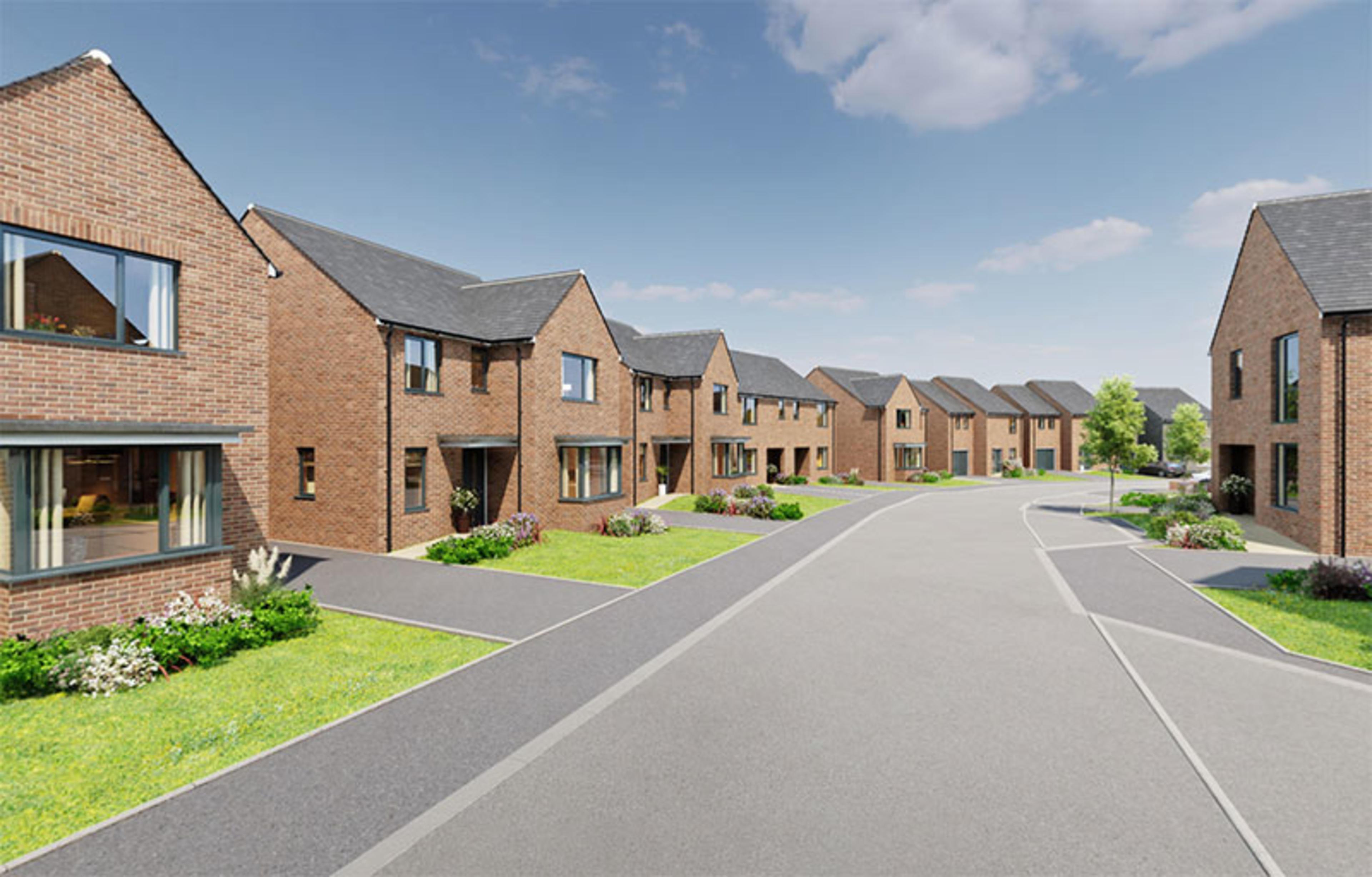 CGI of a street of new-build detached homes at Ellison Grove, Hebburn