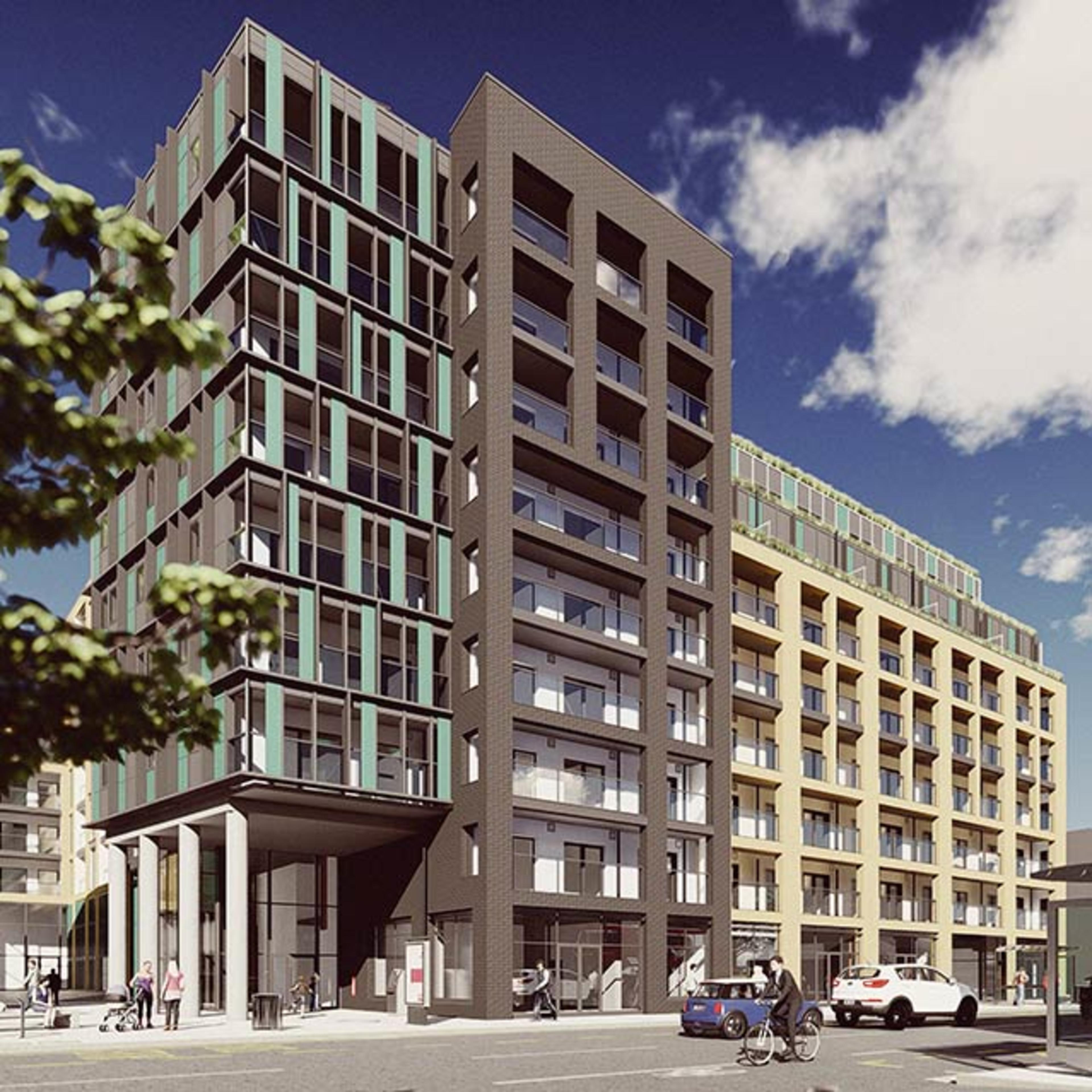 External CGI of RUB1X - a new build apartment building in Southall, London