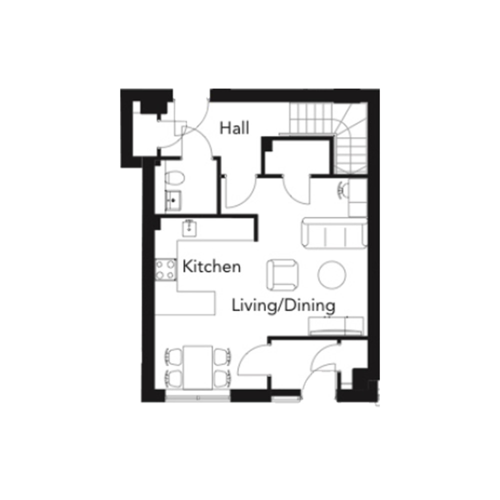 Franklin Court - 2 bedroom duplex - type A - floorplan - Ground floor