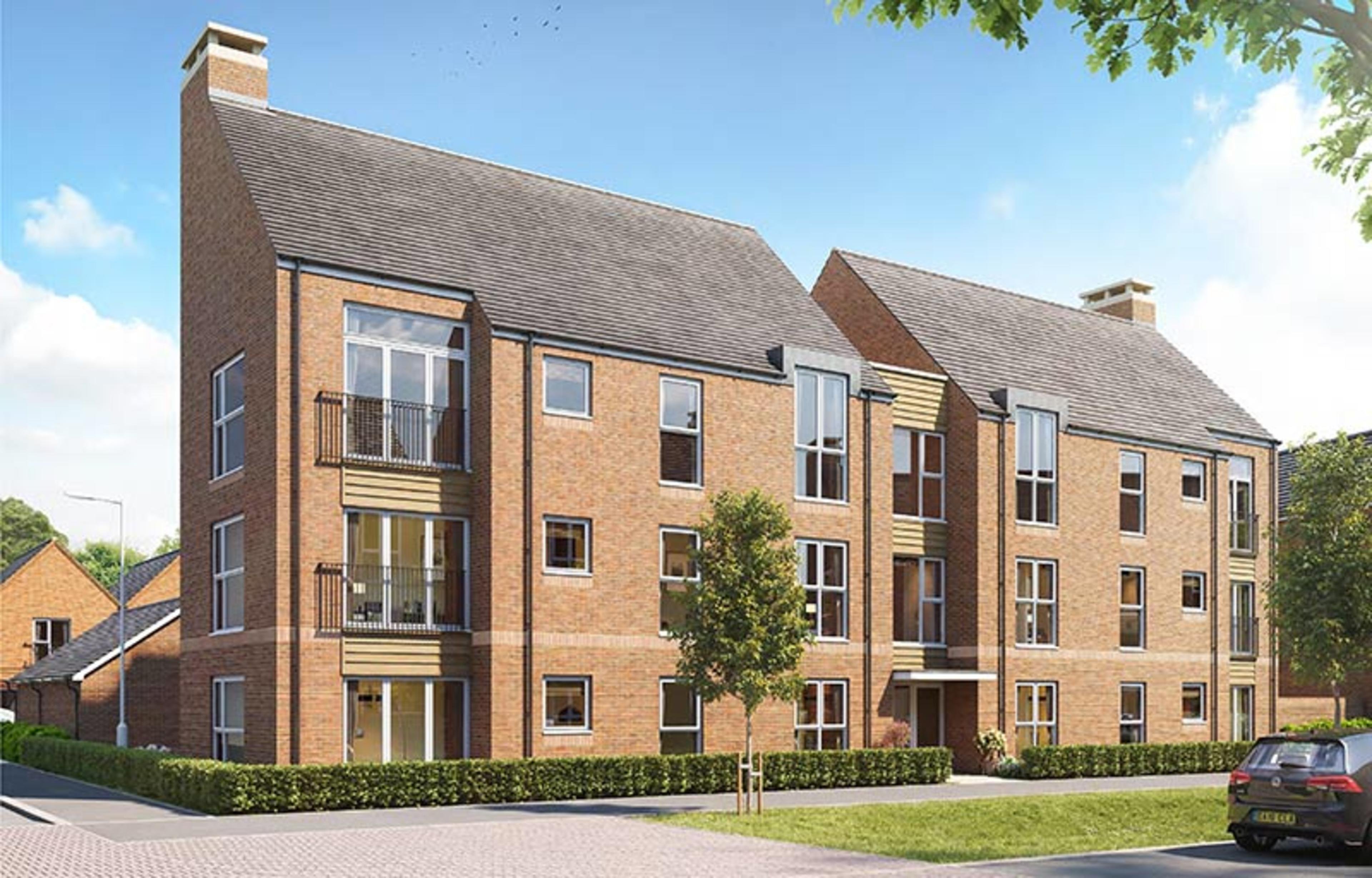 A CGI of new build apartment buildings at Kings Barton, Winchester