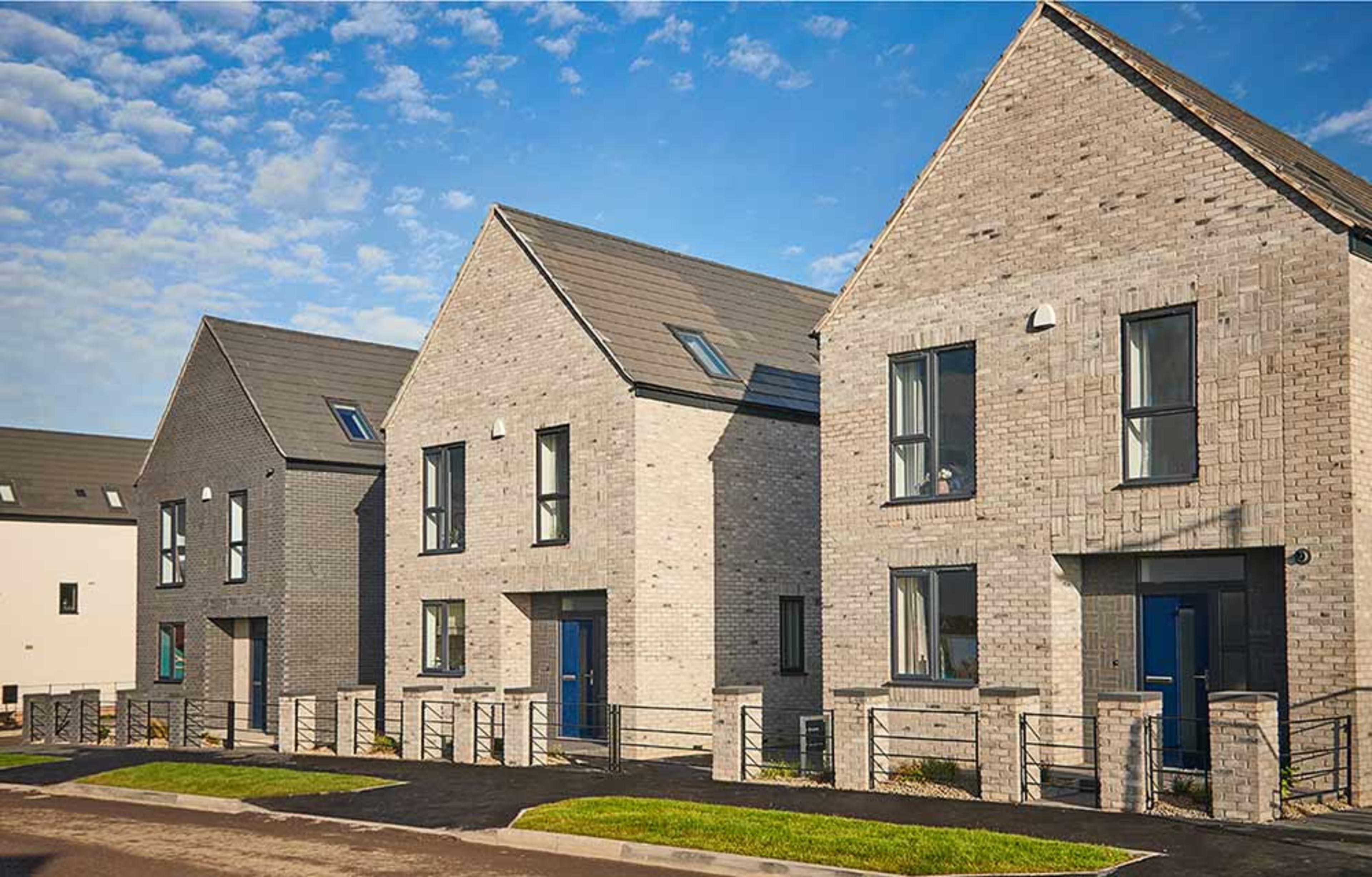 A row of new-build detached houses at Meaux Rise