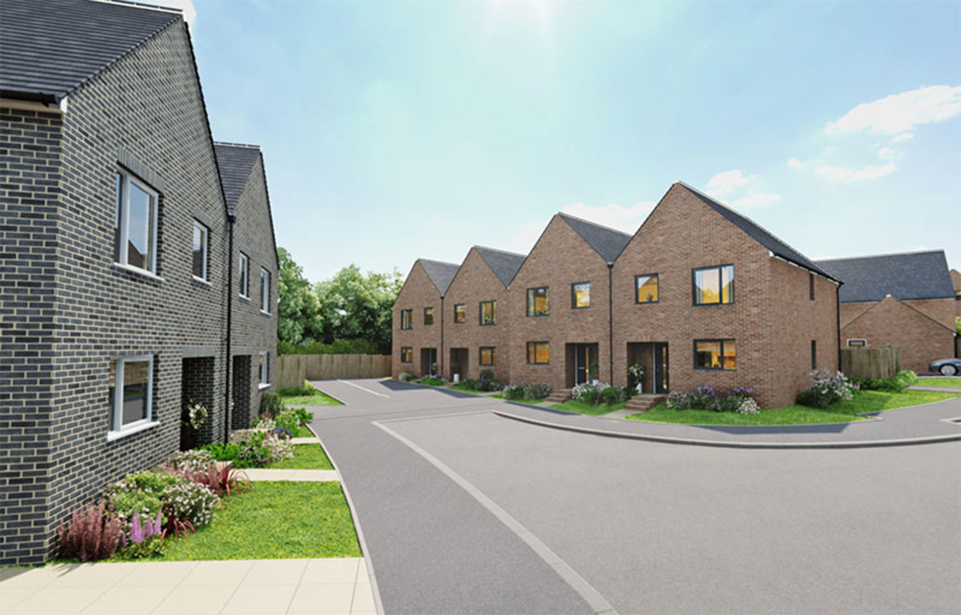 CGI of street of semi-detached new build homes with front gardens at Ellison Grove, Hebburn
