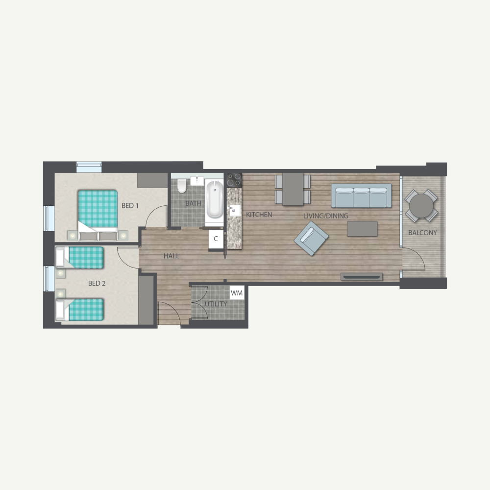 Union park - 2 bed Type D floor plan