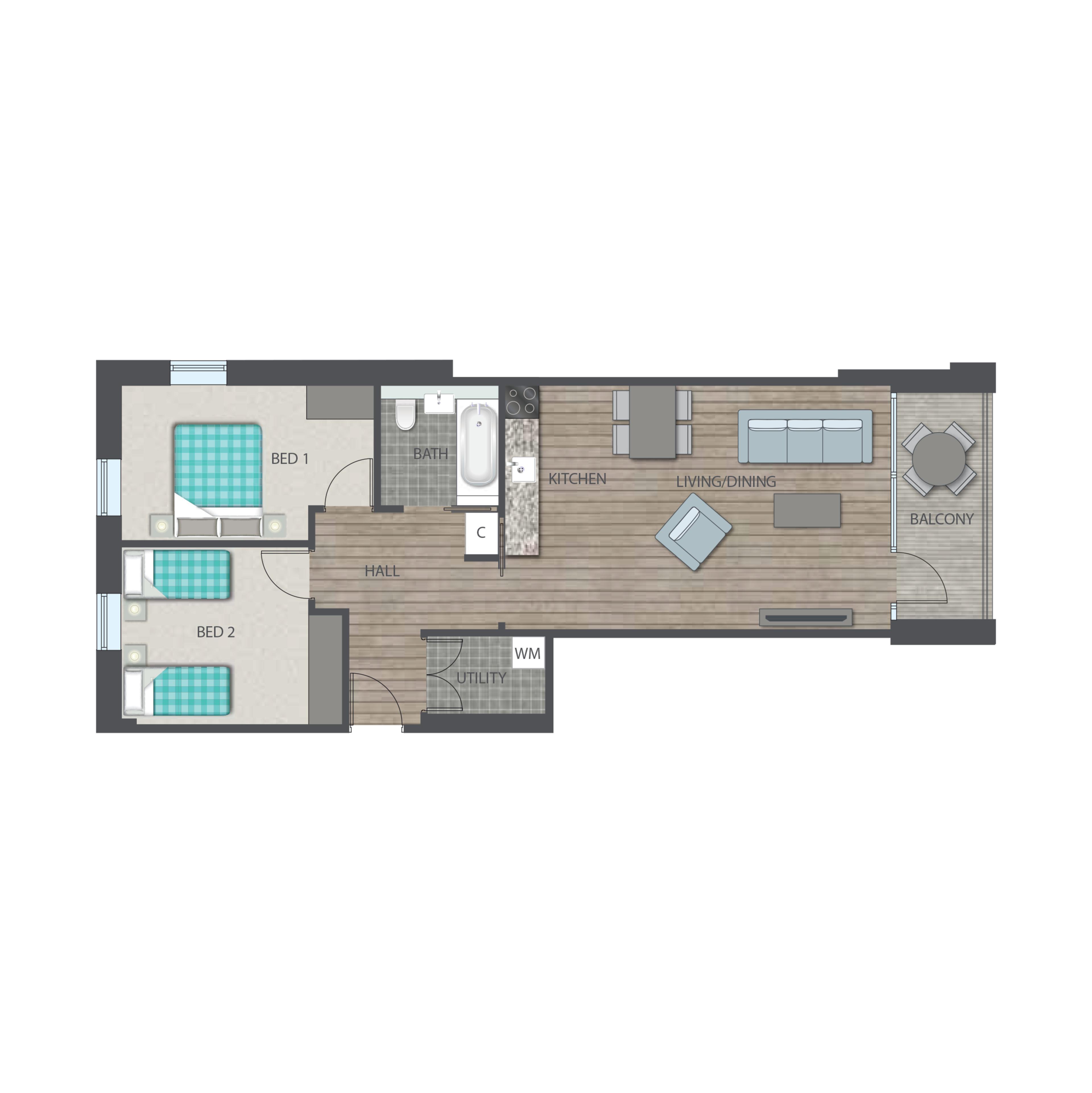 Union park - 2 bed Type D floor plan
