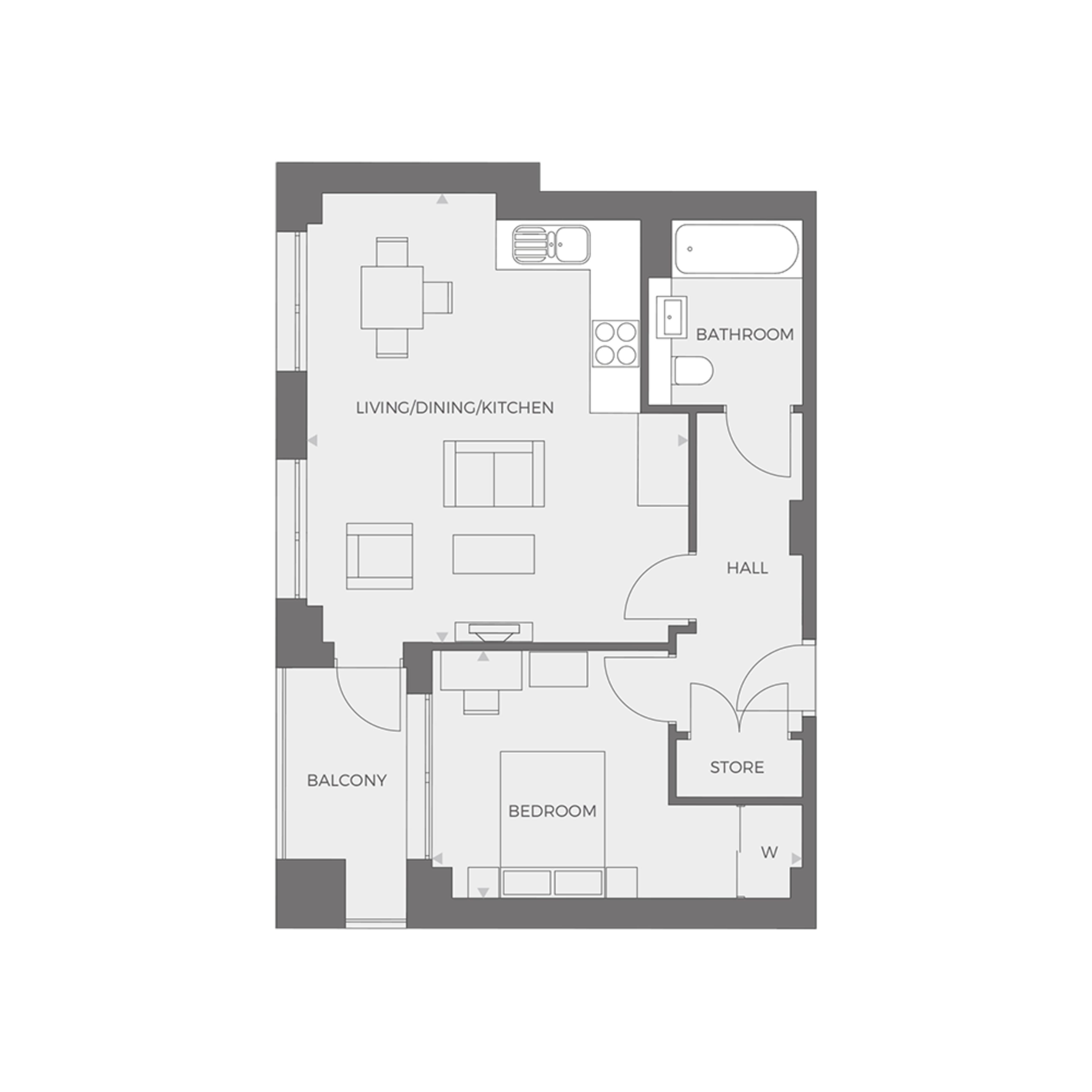 RUB1X - 1 bed Type H floor plan