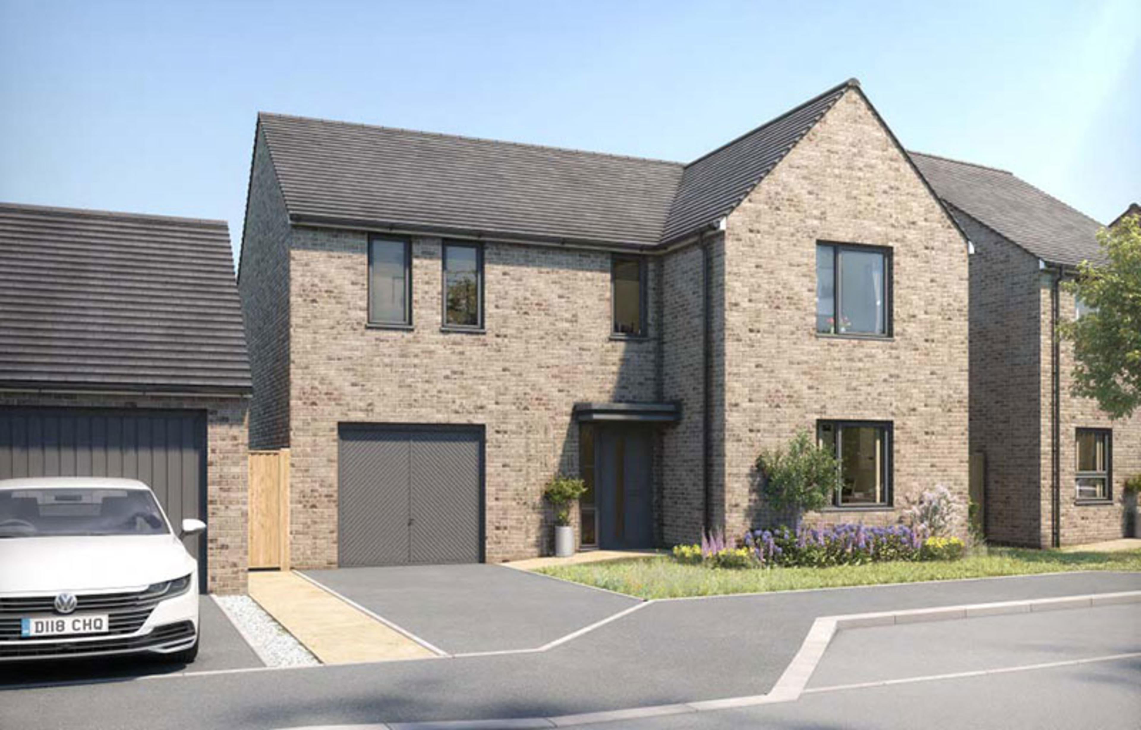 CGI of large detached new-build home with garage and driveway at Ellison Grove, Hebburn