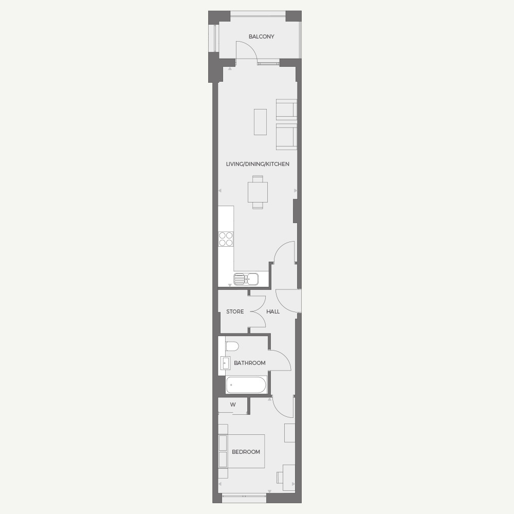 RUB1X - 1 bed Type A floor plan