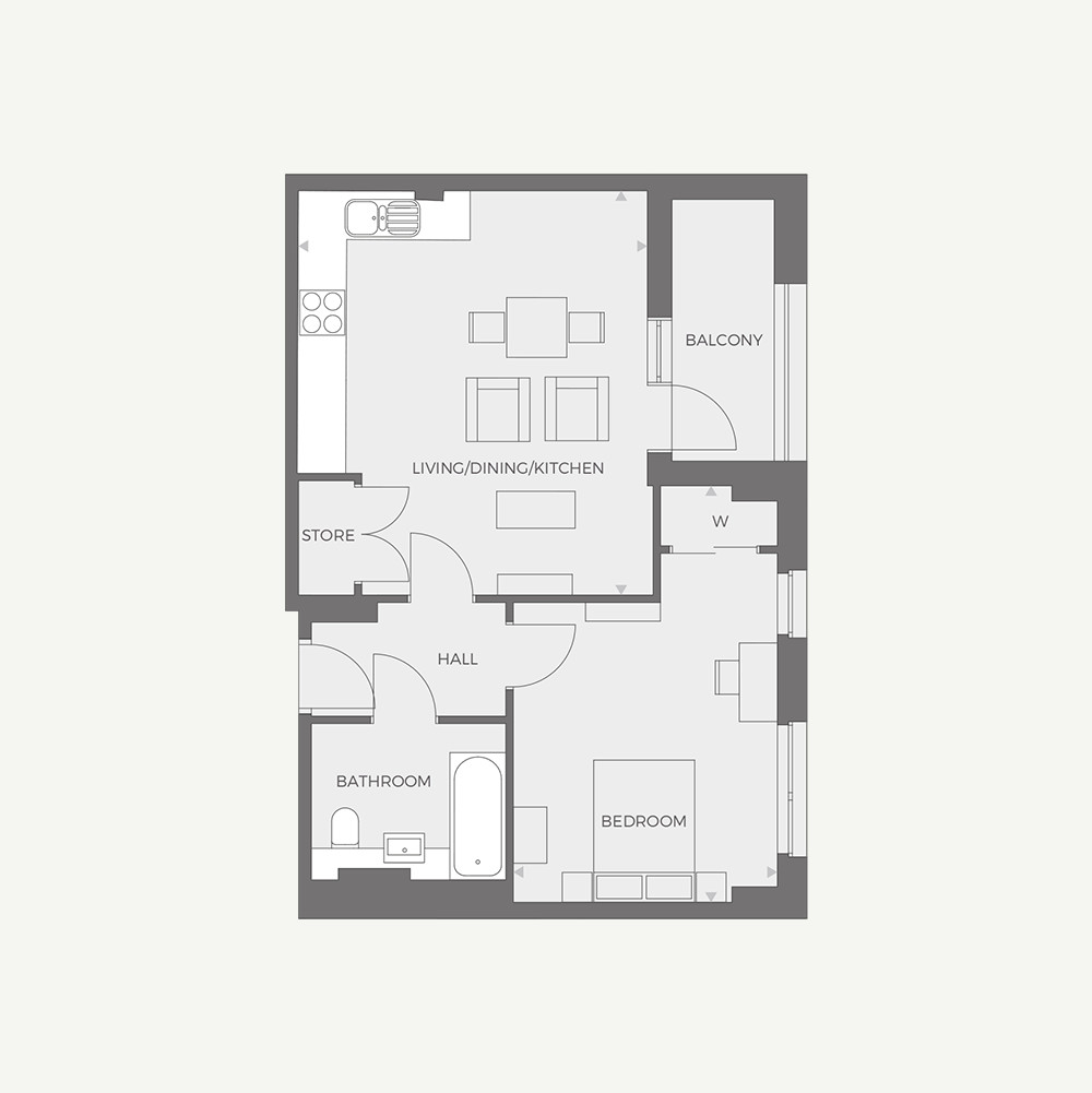 RUB1X - 1 bed Type I floor plan