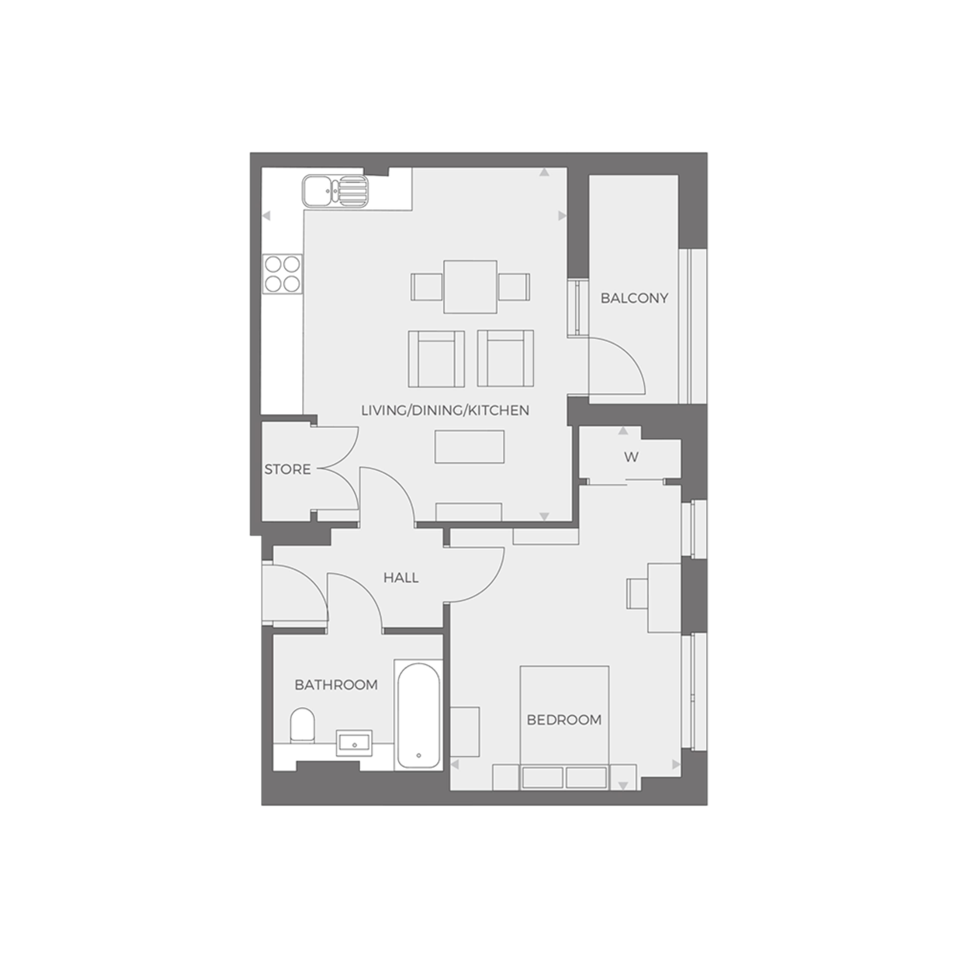 RUB1X - 1 bed Type I floor plan