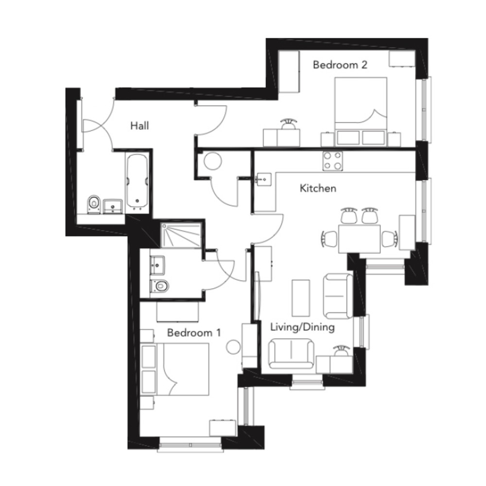 Franklin Court - 2 bedroom apartment - type K - floorplan