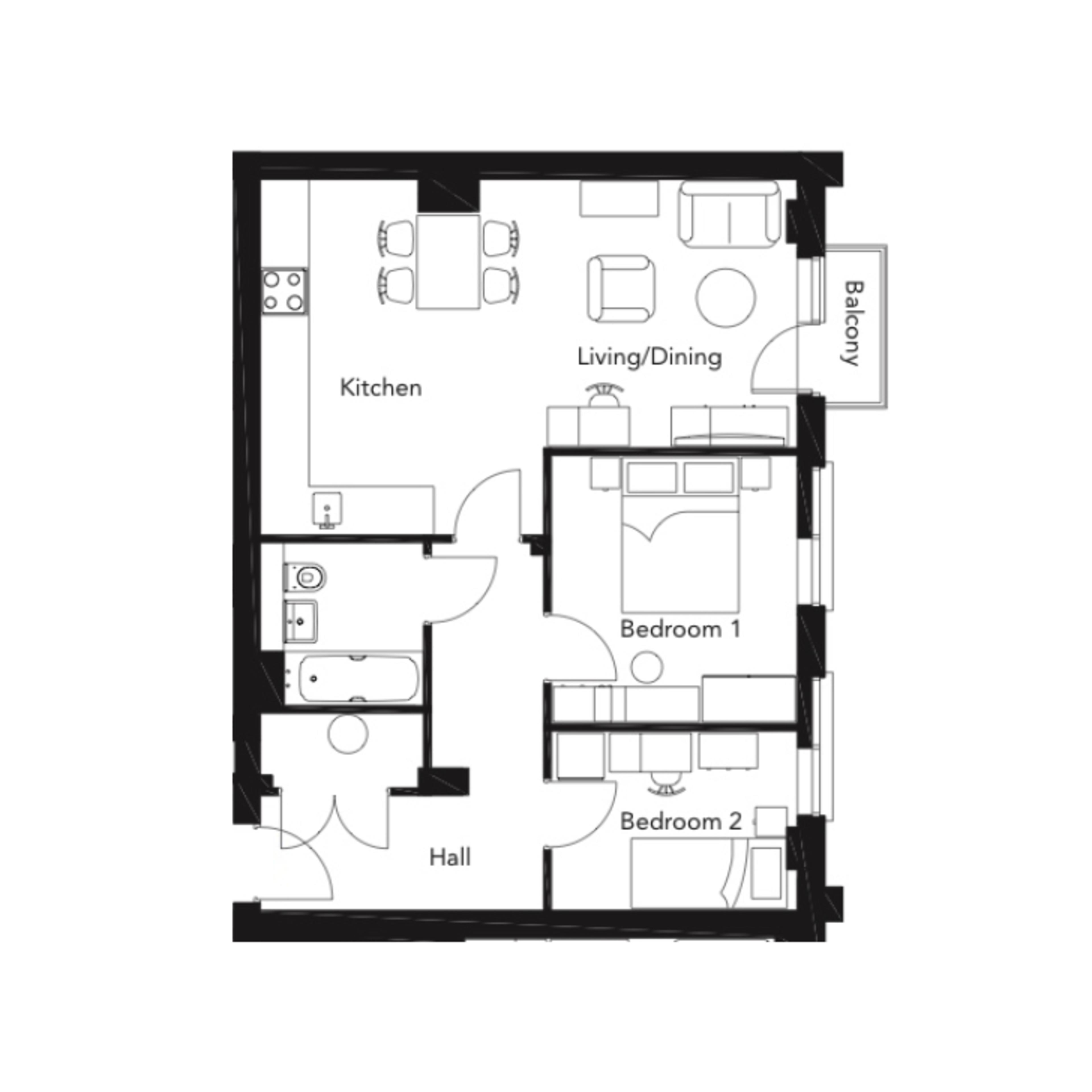 Franklin Court new two bedroom apartment type h floorplan flat 101