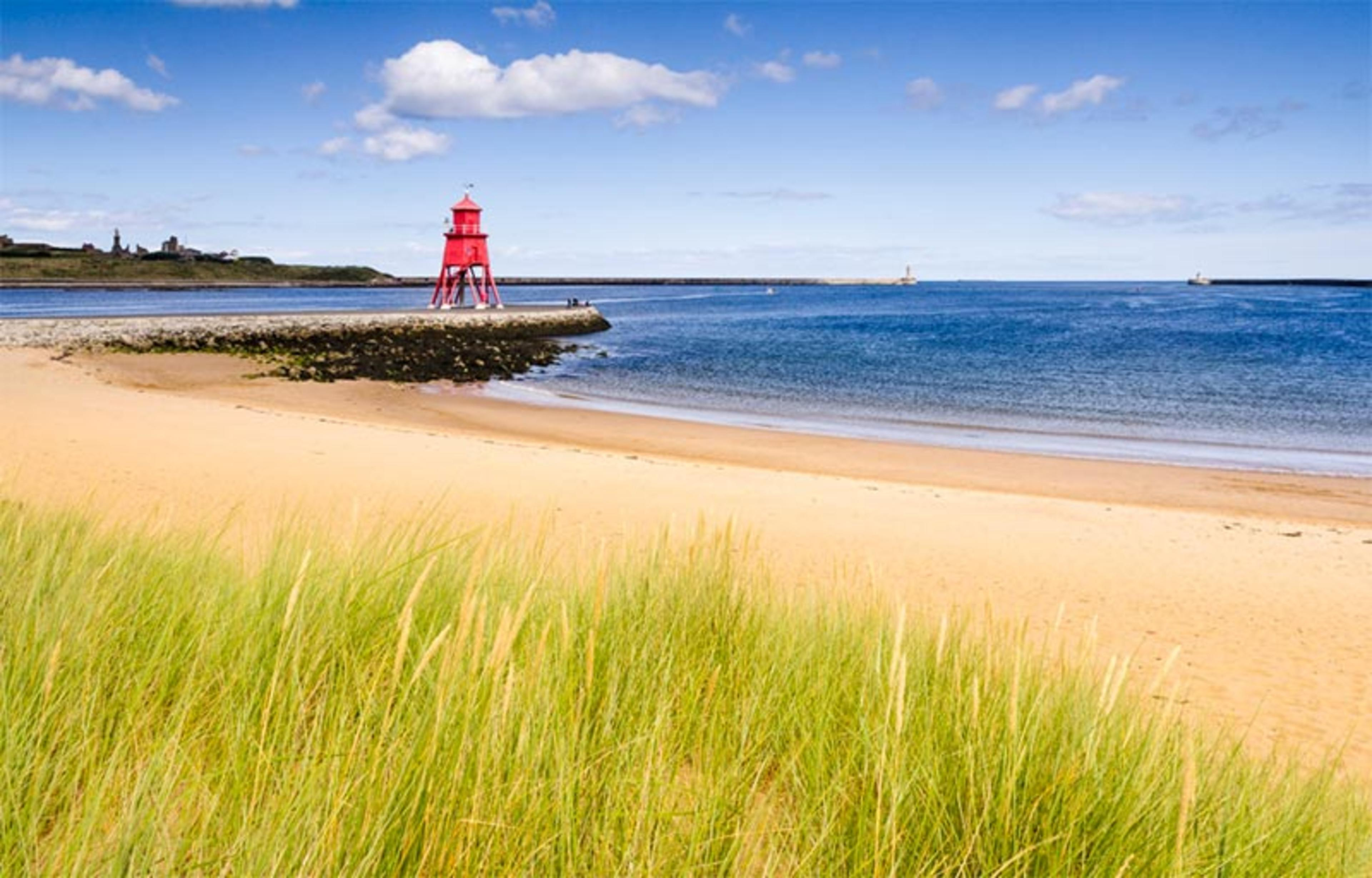 View of the pier and Tynemouth Priory from Sandhaven Beach, South Shields
