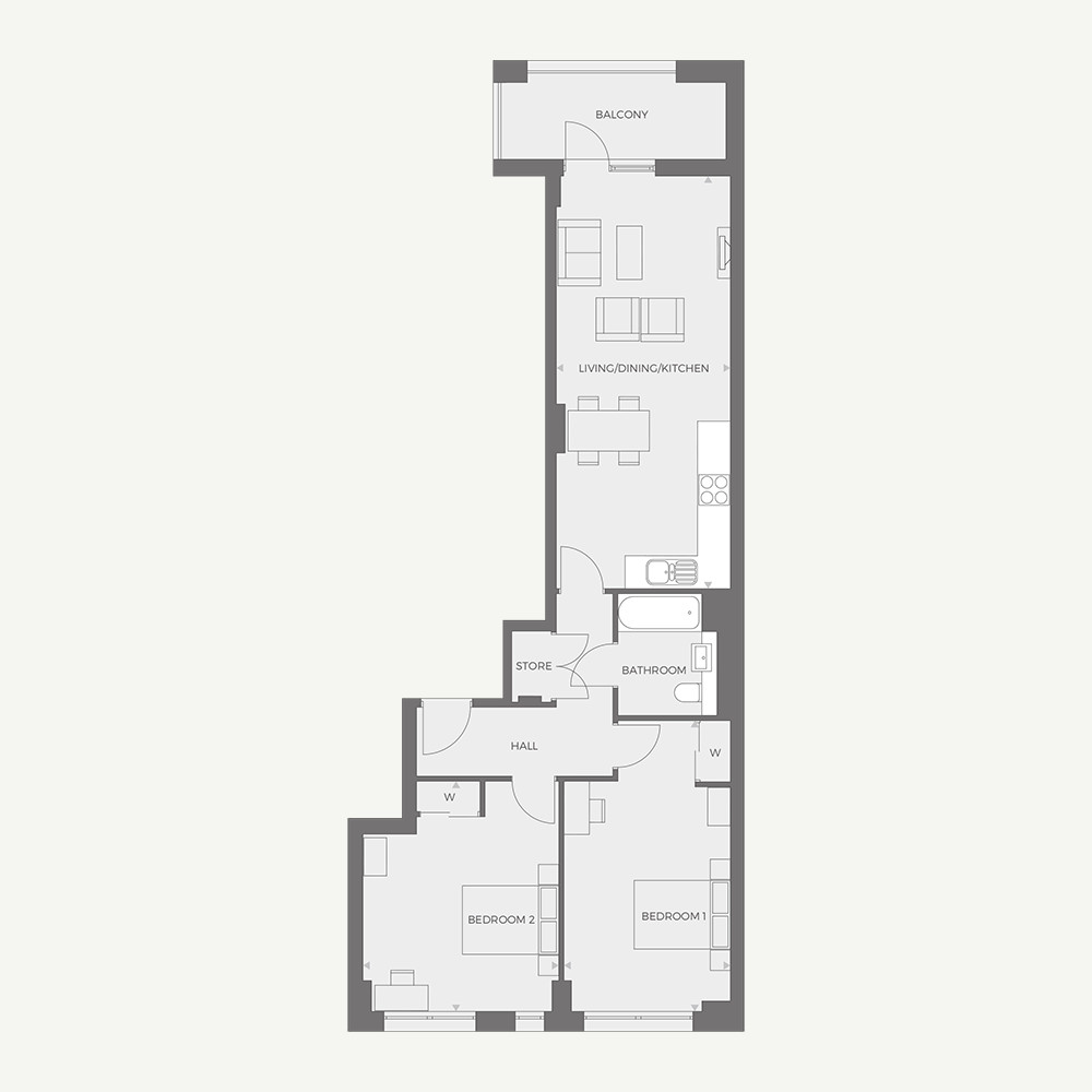 RUB1X - 2 bed Type A floor plan