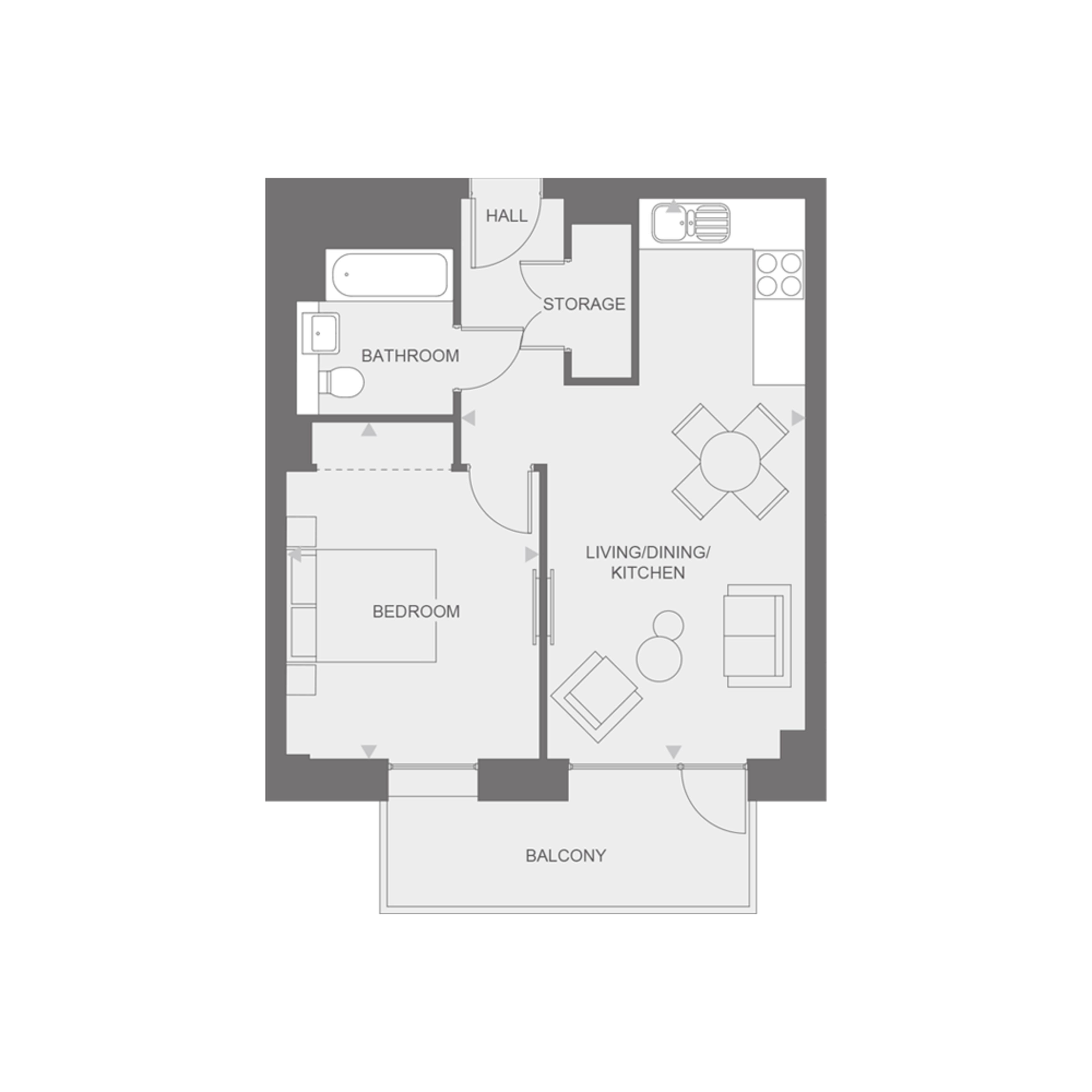 Anthology Wembley Parade - one bedroom - type H floor plan