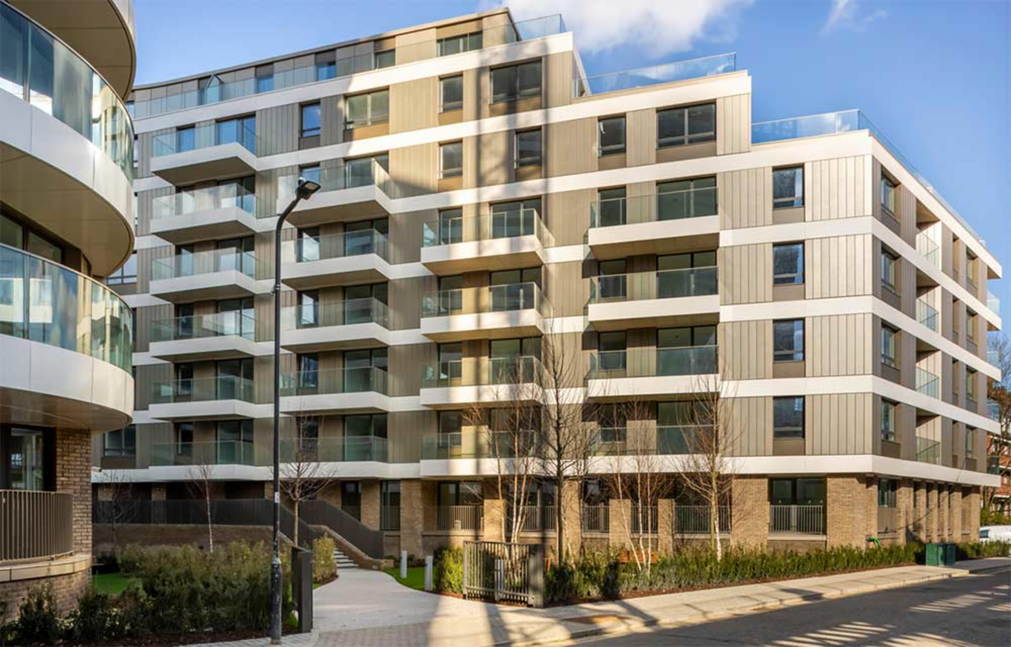1, 2 and 3 bedroom shared ownership apartments at Anthology Wembley Parade - view from street