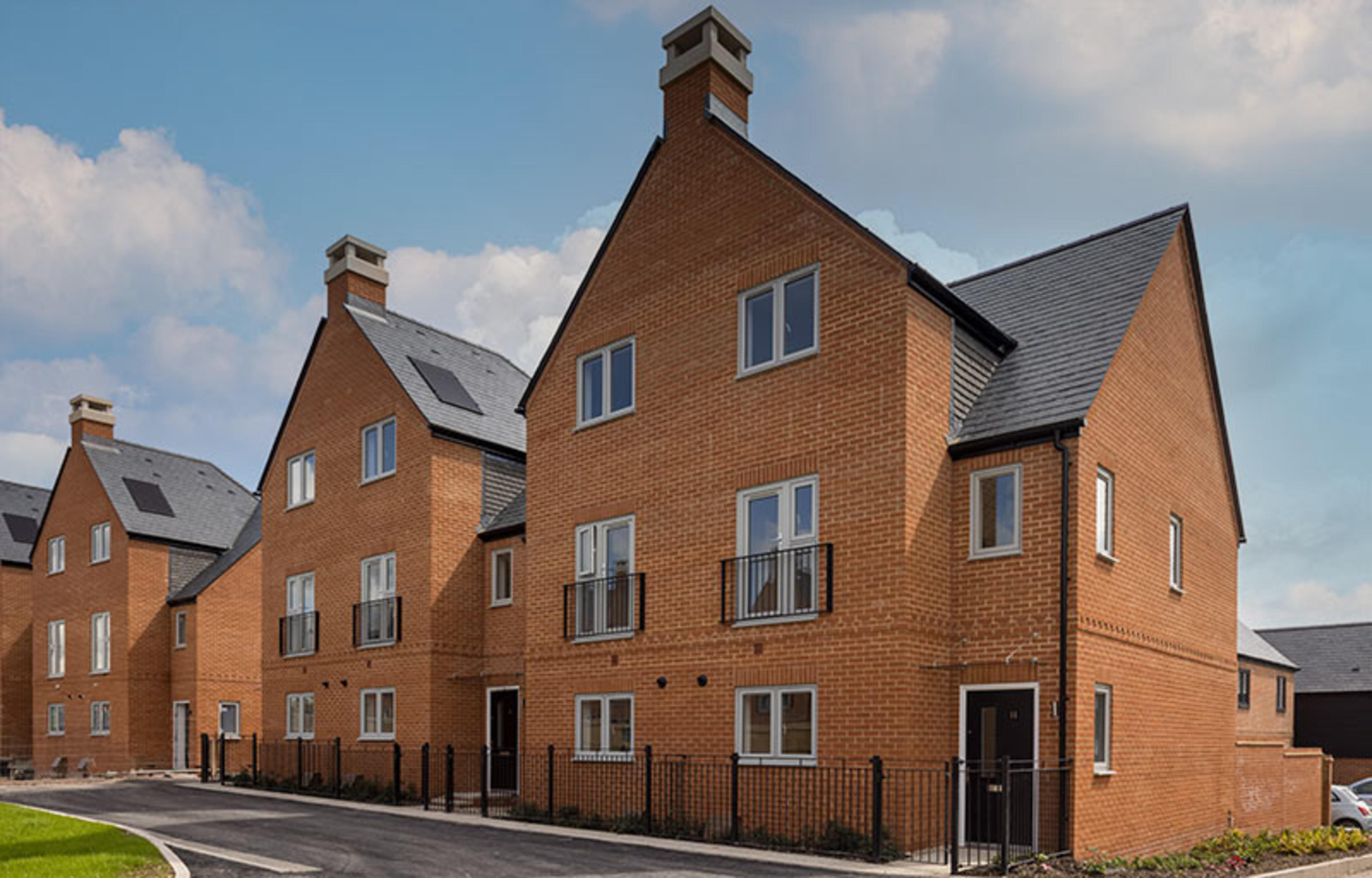 A row of three bedroom town houses at Kings Barton, Winchester