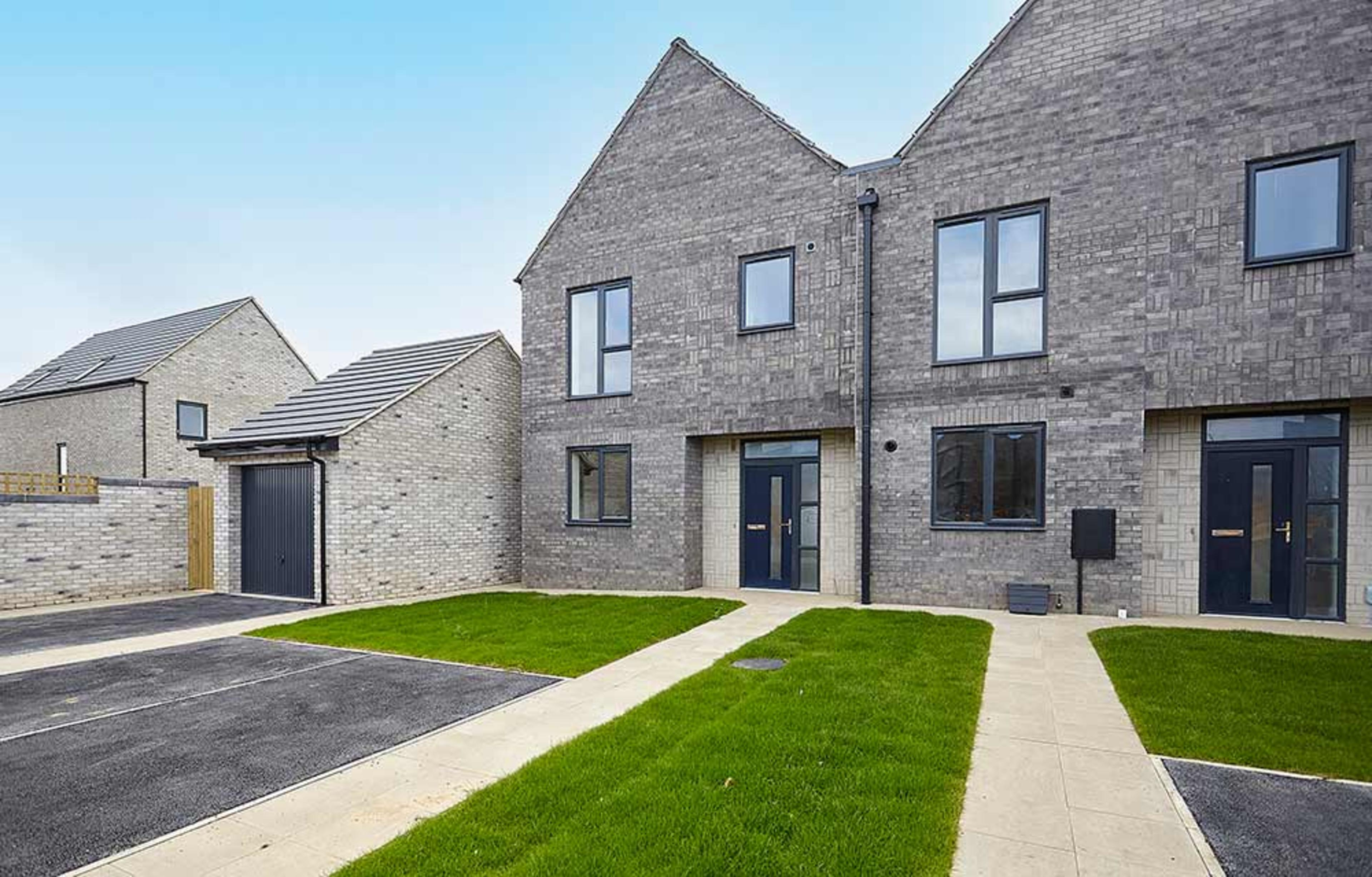 Front garden of a new build semi-detached home at Meaux Rise