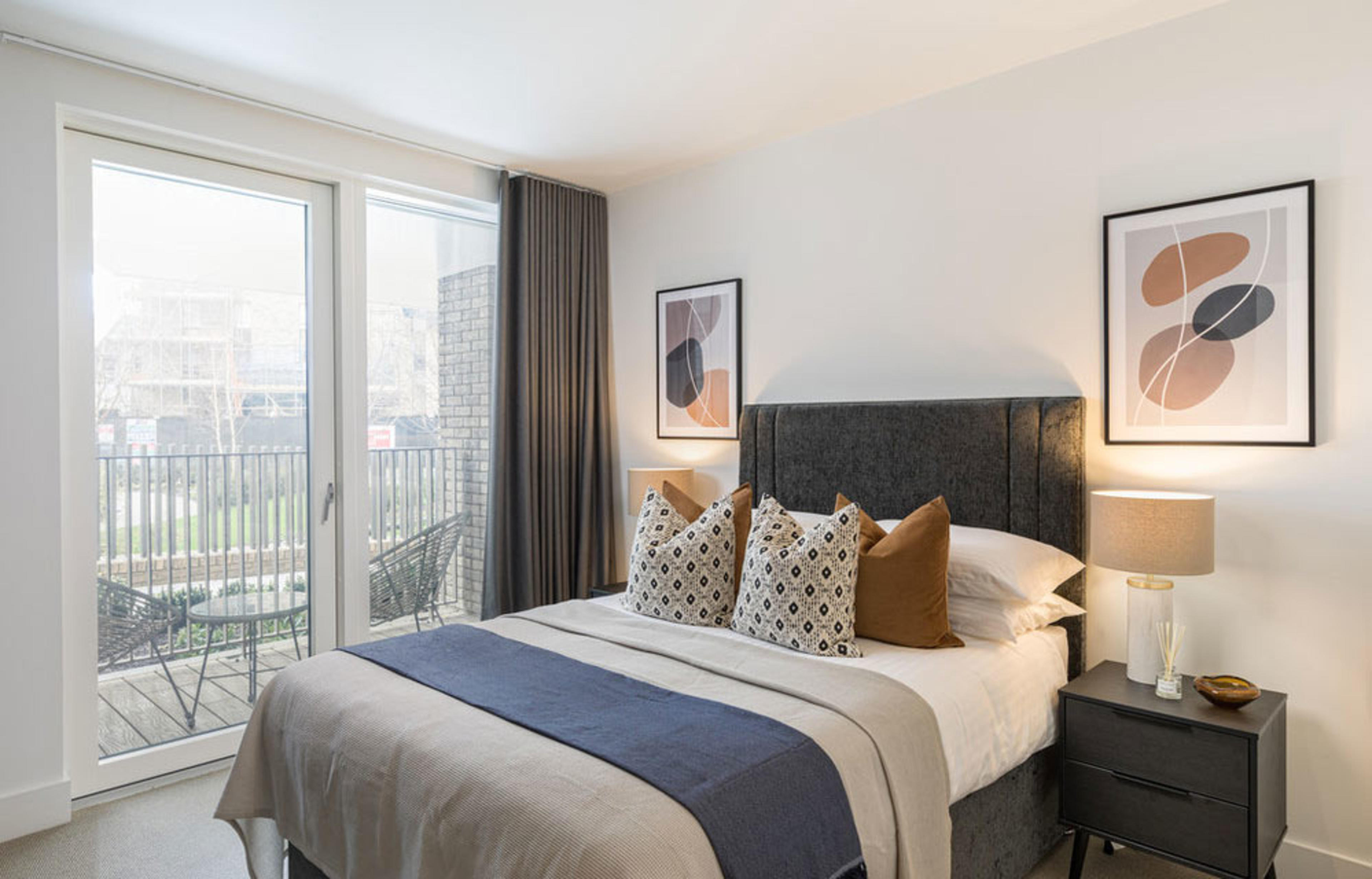 Featured 1 bedroom apartment at Anthology Wembley Parade  - view of bedroom with balcony access