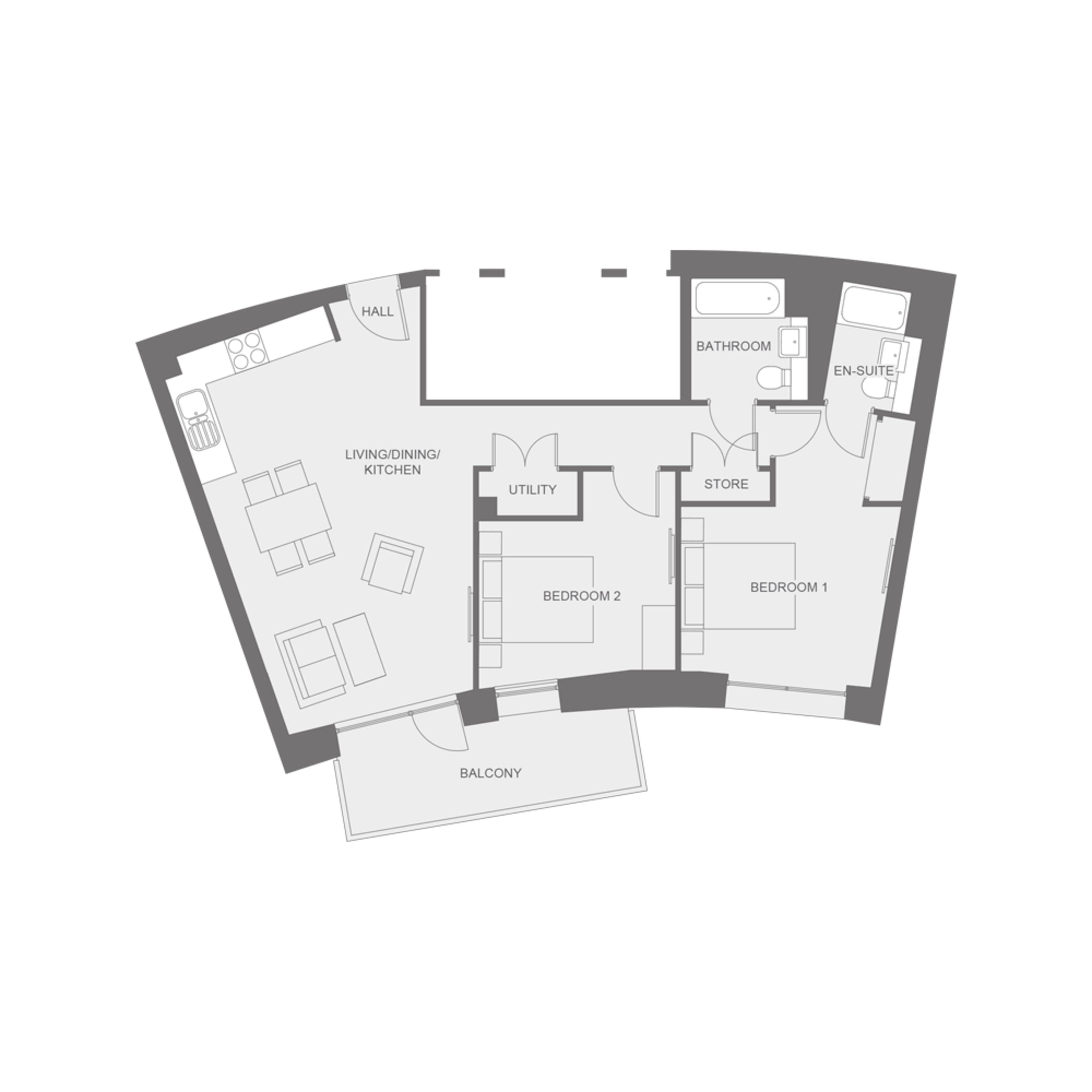 Anthology Wembley Parade - two bedroom - type J floor plan