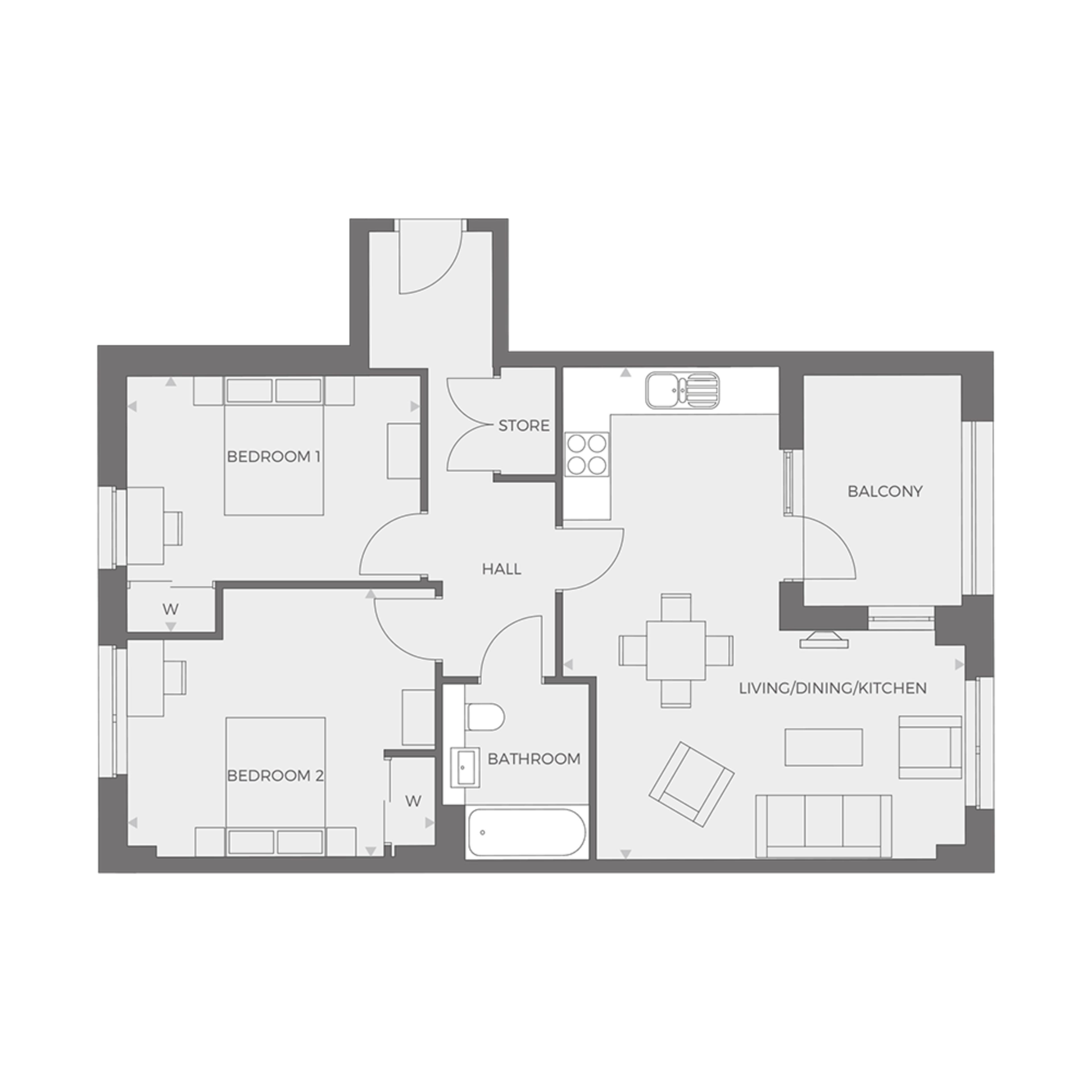 RUB1X - 2 bed Type C floor plan