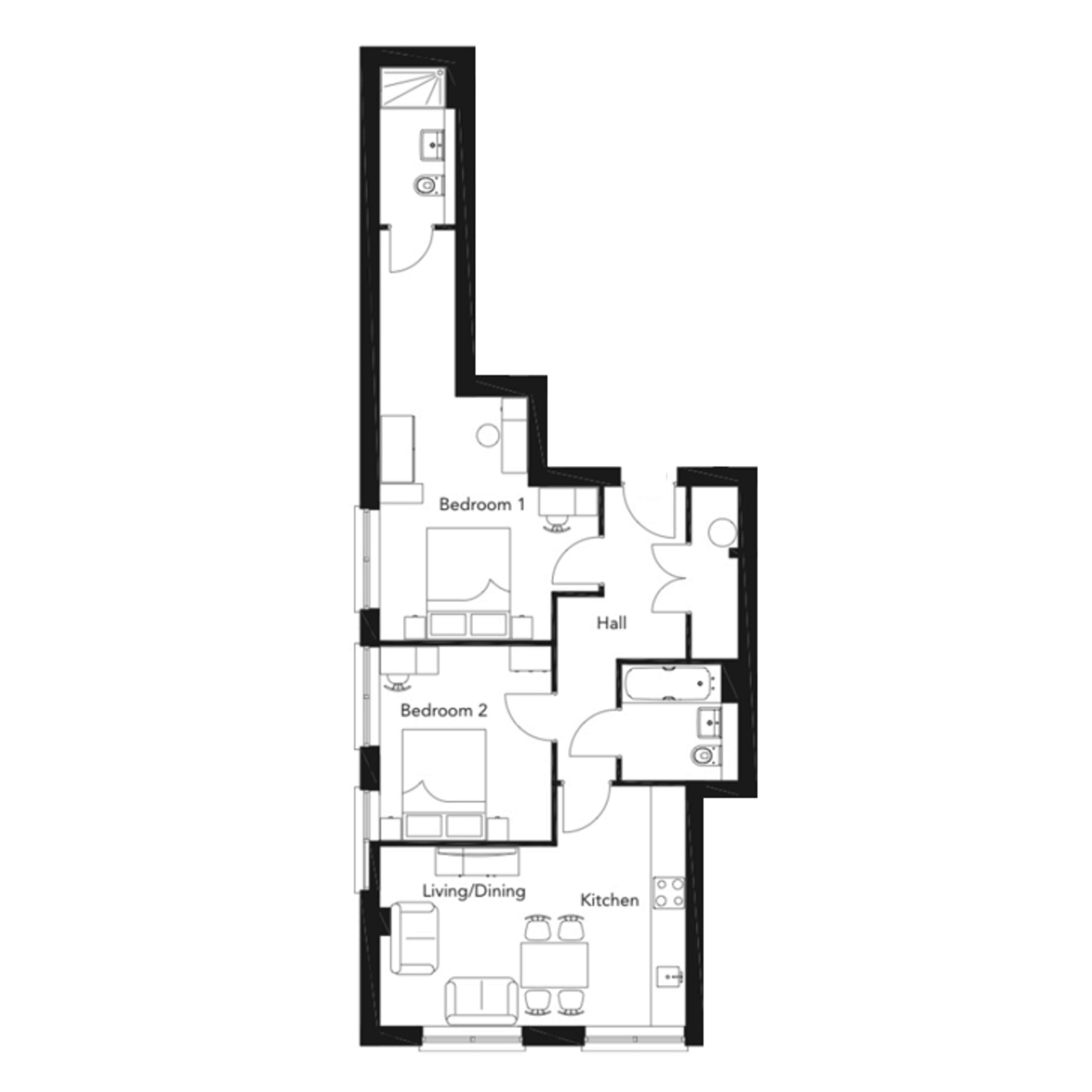 Franklin Court - 2 bedroom apartment - floor plan - type F