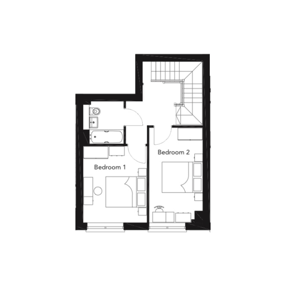 Franklin Court - 2 bedroom duplex - type A - floorplan - First floor