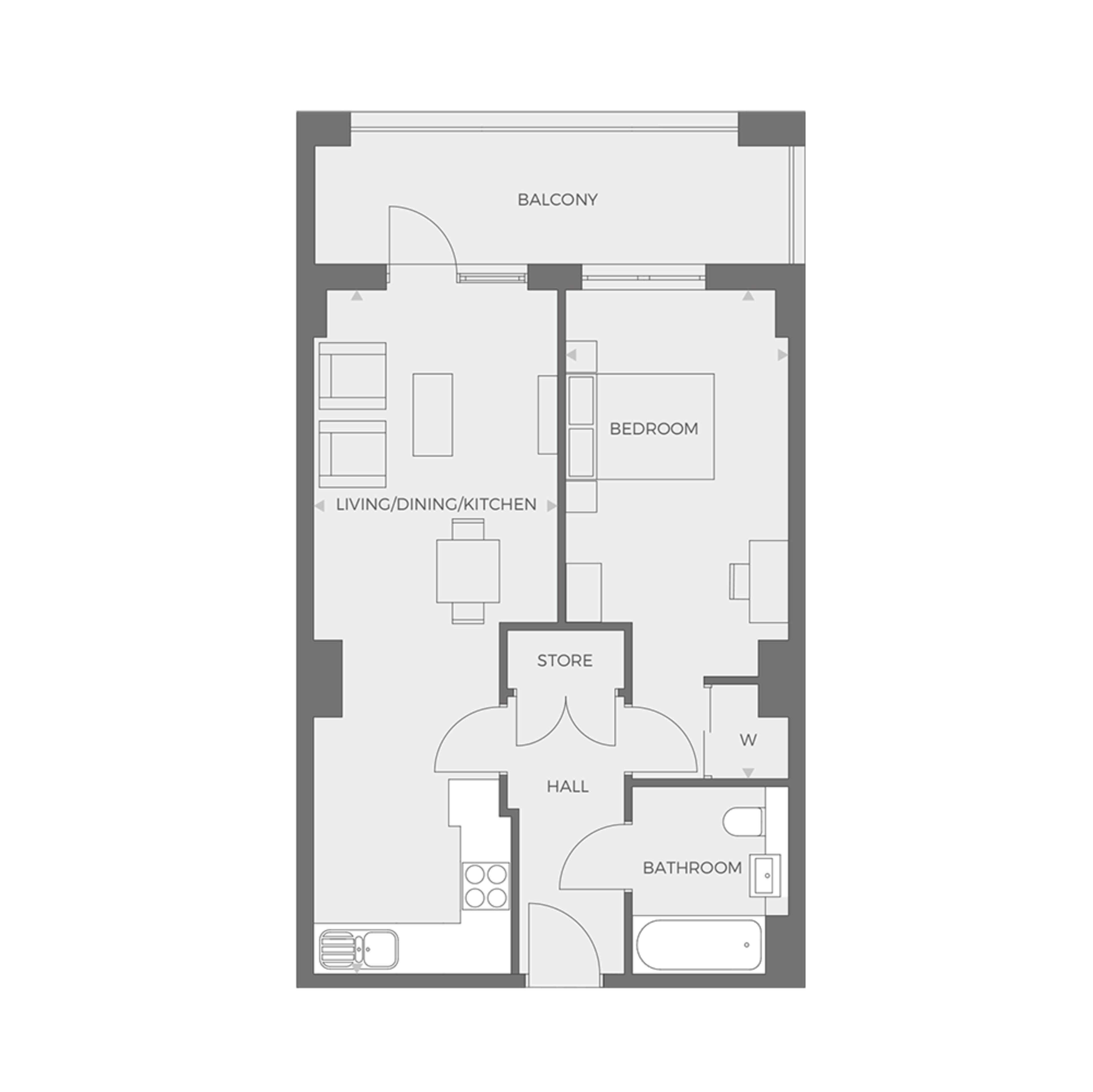 RUB1X - 1 bed Type C floor plan