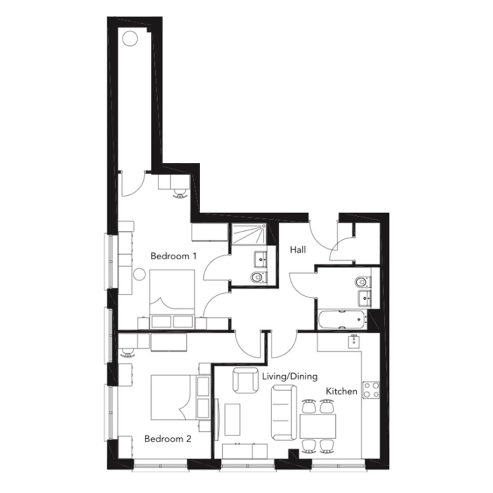 Franklin Court new two bedroom apartment floorplan type G