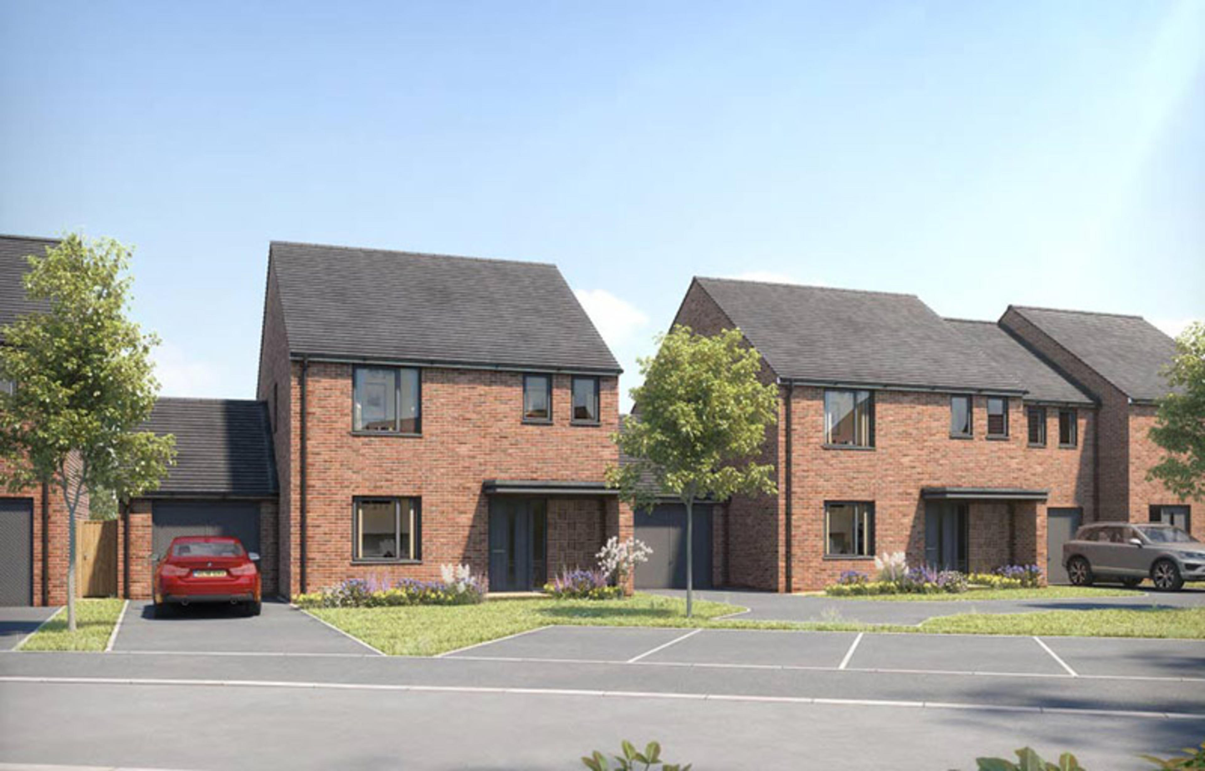 CGI of new-build detached homes with garages and parking at Ellison Grove, Hebburn