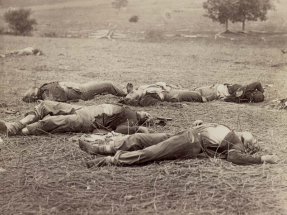 Union soldiers lie dead on the battlefield during the Battle of Gettysburg in early July 1863; more than 7,000 Union and Confederate soldiers were killed in the three-day battle.
