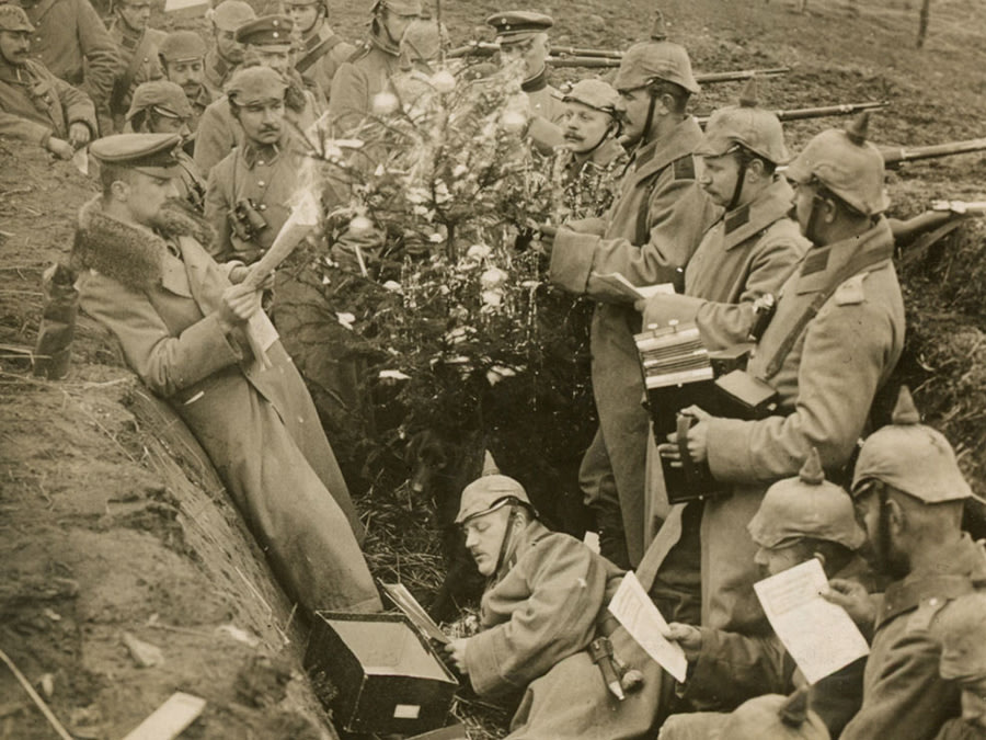 German soldiers celebrating the Christmas Truce