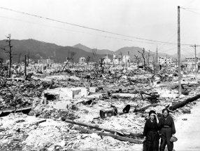 Aftermath of the atomic bomb strike at Hiroshima, Japan, November 17, 1945.