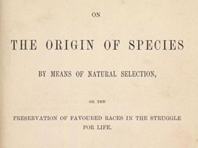 Title page of Charles Darwin's On the Origin of Species by Means of Natural Selection, 1859.