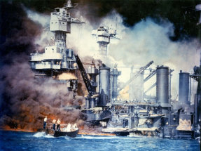 Colour-tinted photo of sailors in a motor launch rescuing a survivor of the stricken USS West Virginia shortly after the Japanese attack on Pearl Harbor, December 7, 1941.