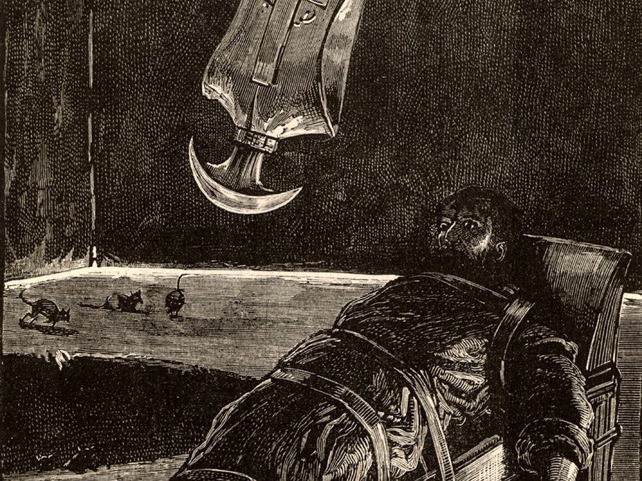 Man being tortured with a swinging axe.