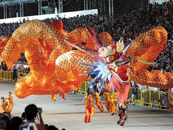 Dragon float at the Chingay Parade, Singapore, 2011.