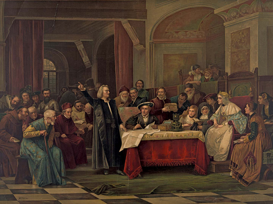 Christopher Columbus appeals Ferdinand II and Isabella I.